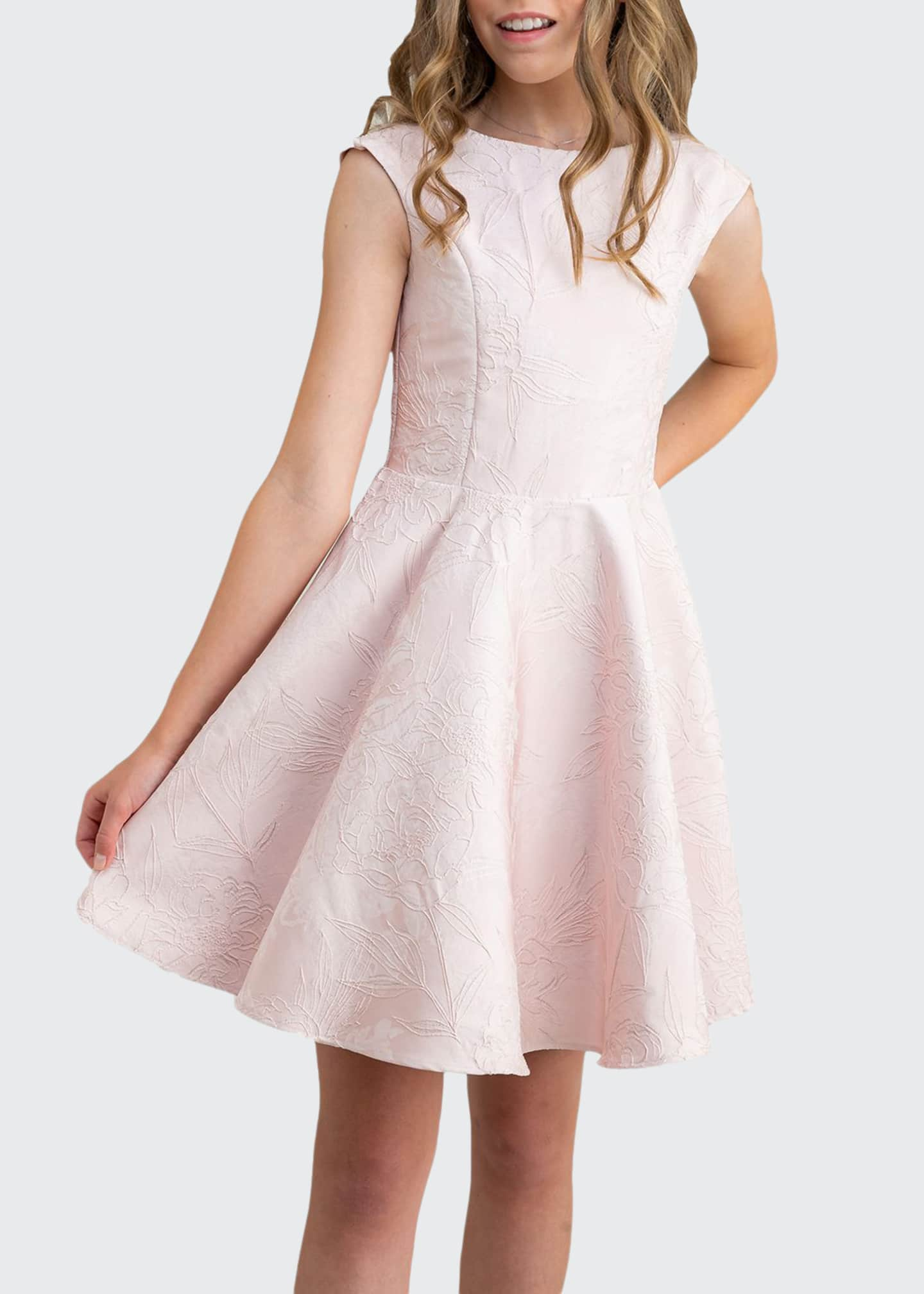 Image 1 of 1: Girl's Floral Embroidered Cap-Sleeve Dress, Size 7-16