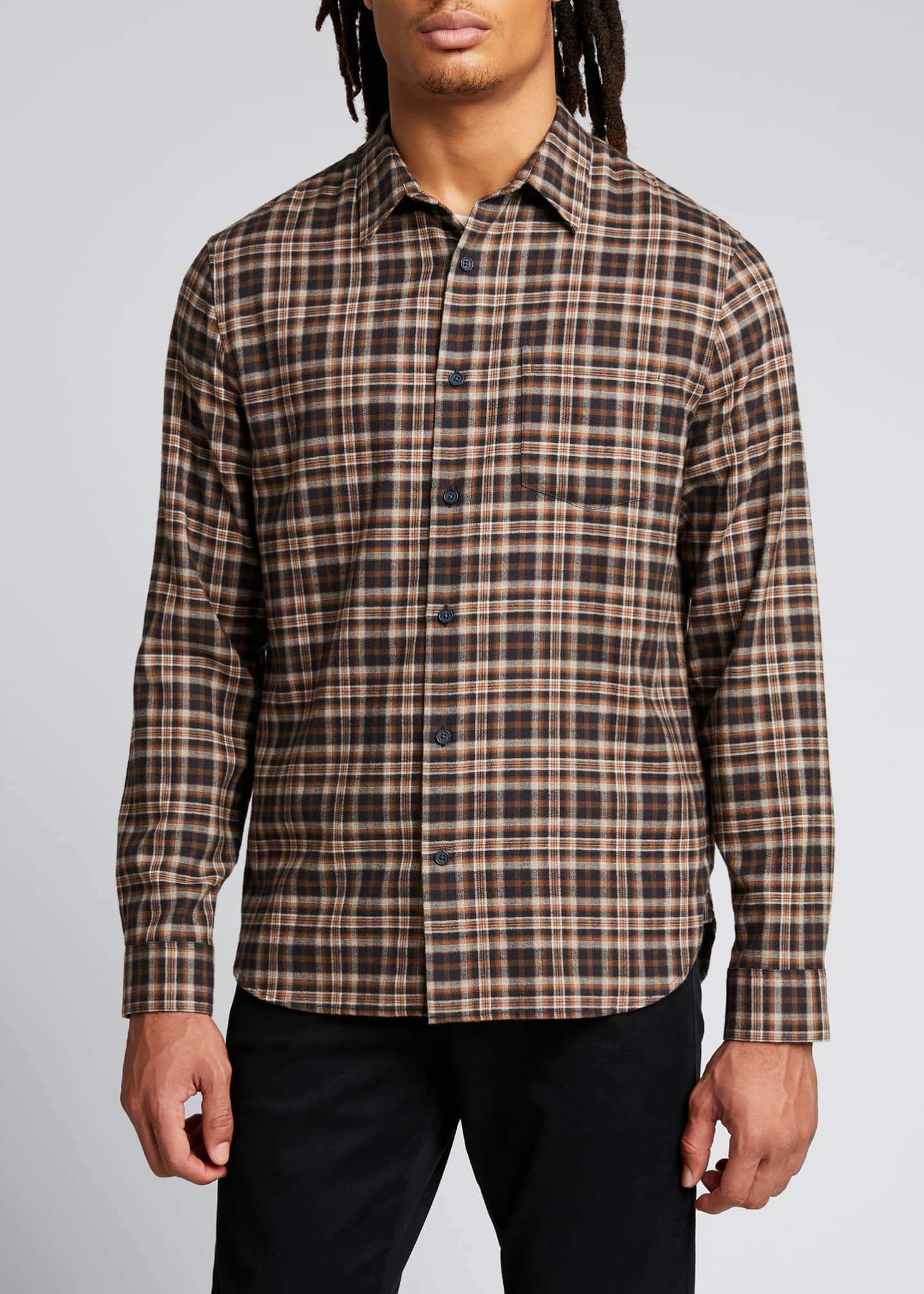 Image 3 of 5: Men's Brushed Plaid Sport Shirt