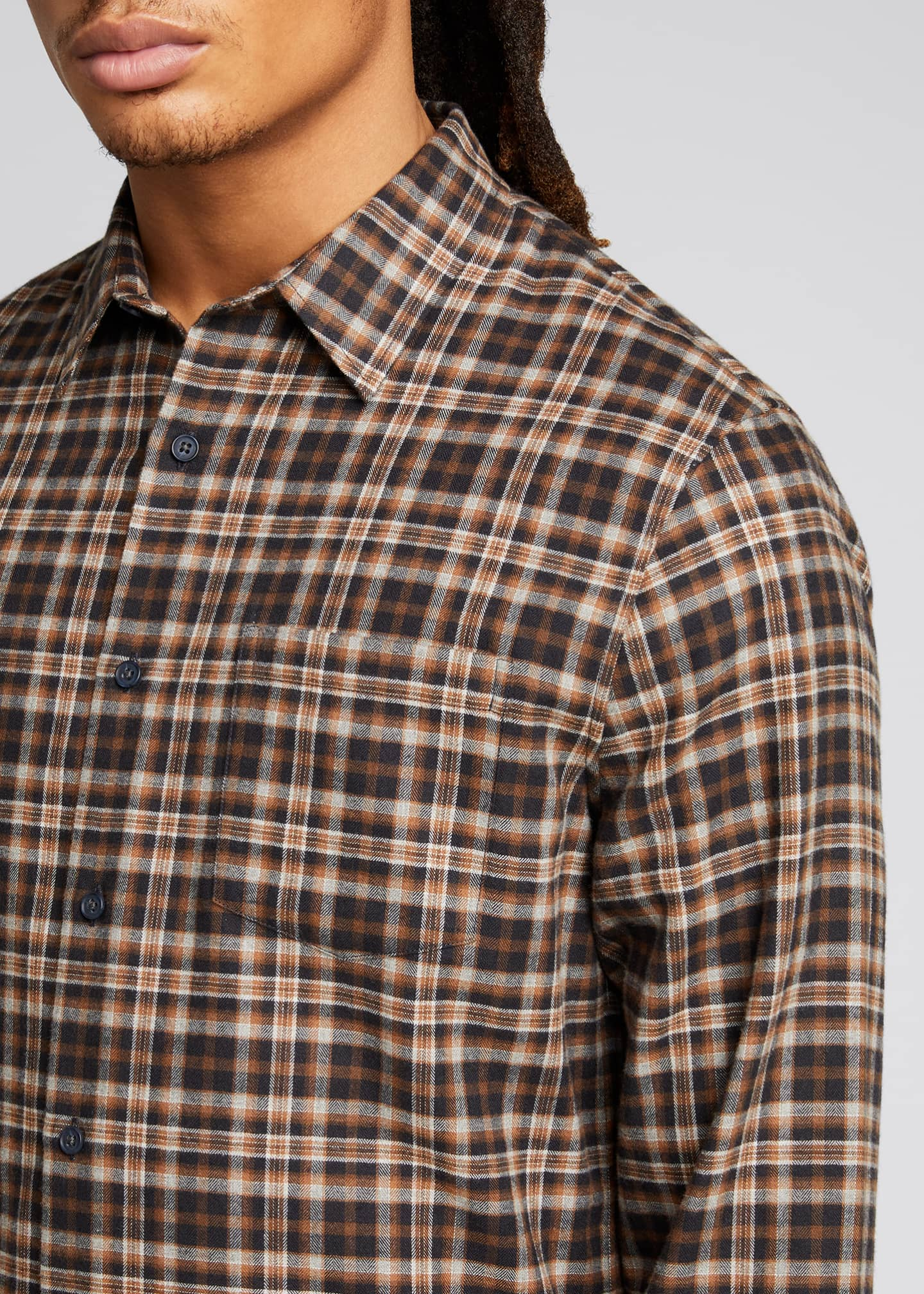 Image 4 of 5: Men's Brushed Plaid Sport Shirt