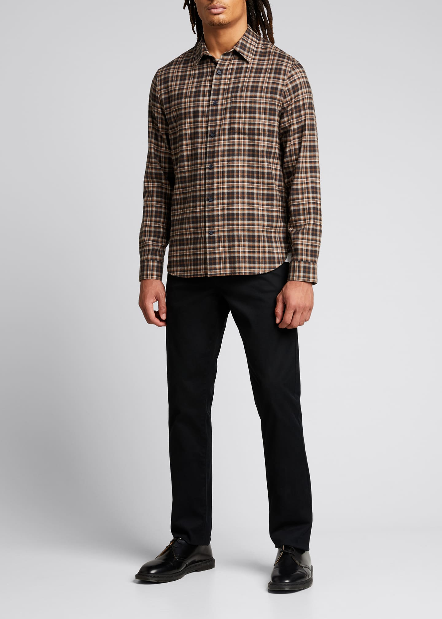 Image 1 of 5: Men's Brushed Plaid Sport Shirt
