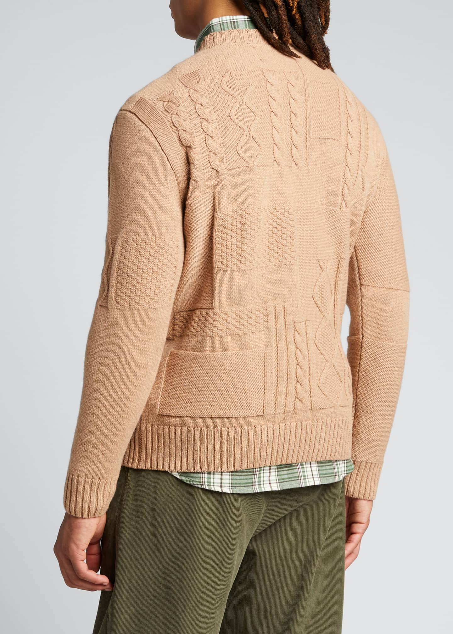Image 2 of 5: Men's Cable-Knit Patchwork Crewneck Sweater
