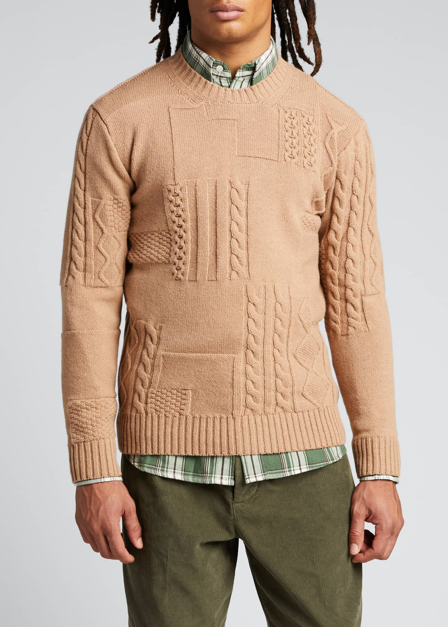 Image 3 of 5: Men's Cable-Knit Patchwork Crewneck Sweater