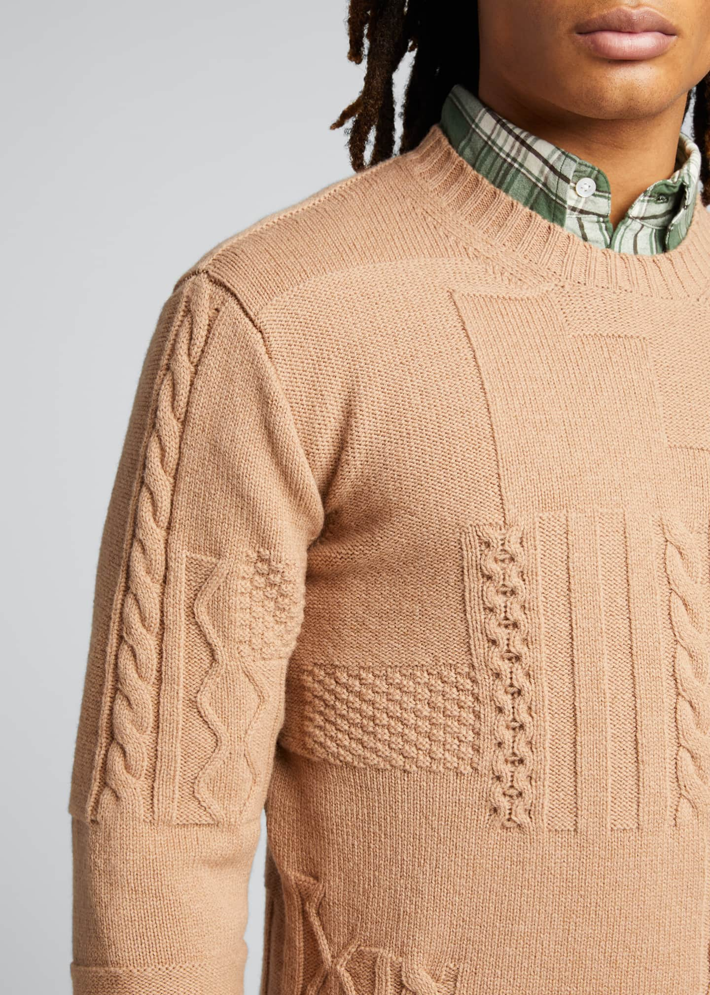 Image 4 of 5: Men's Cable-Knit Patchwork Crewneck Sweater