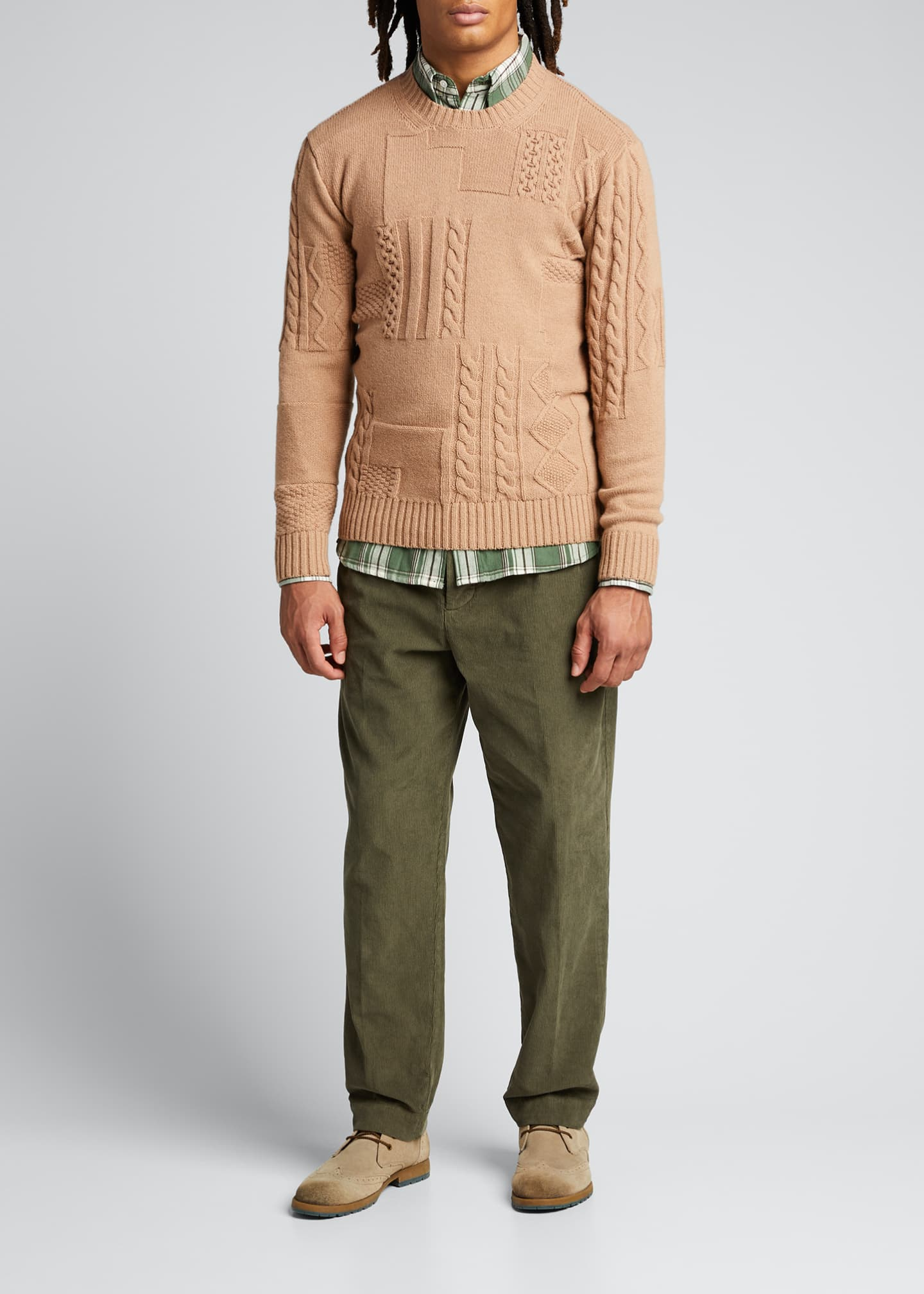 Image 1 of 5: Men's Cable-Knit Patchwork Crewneck Sweater