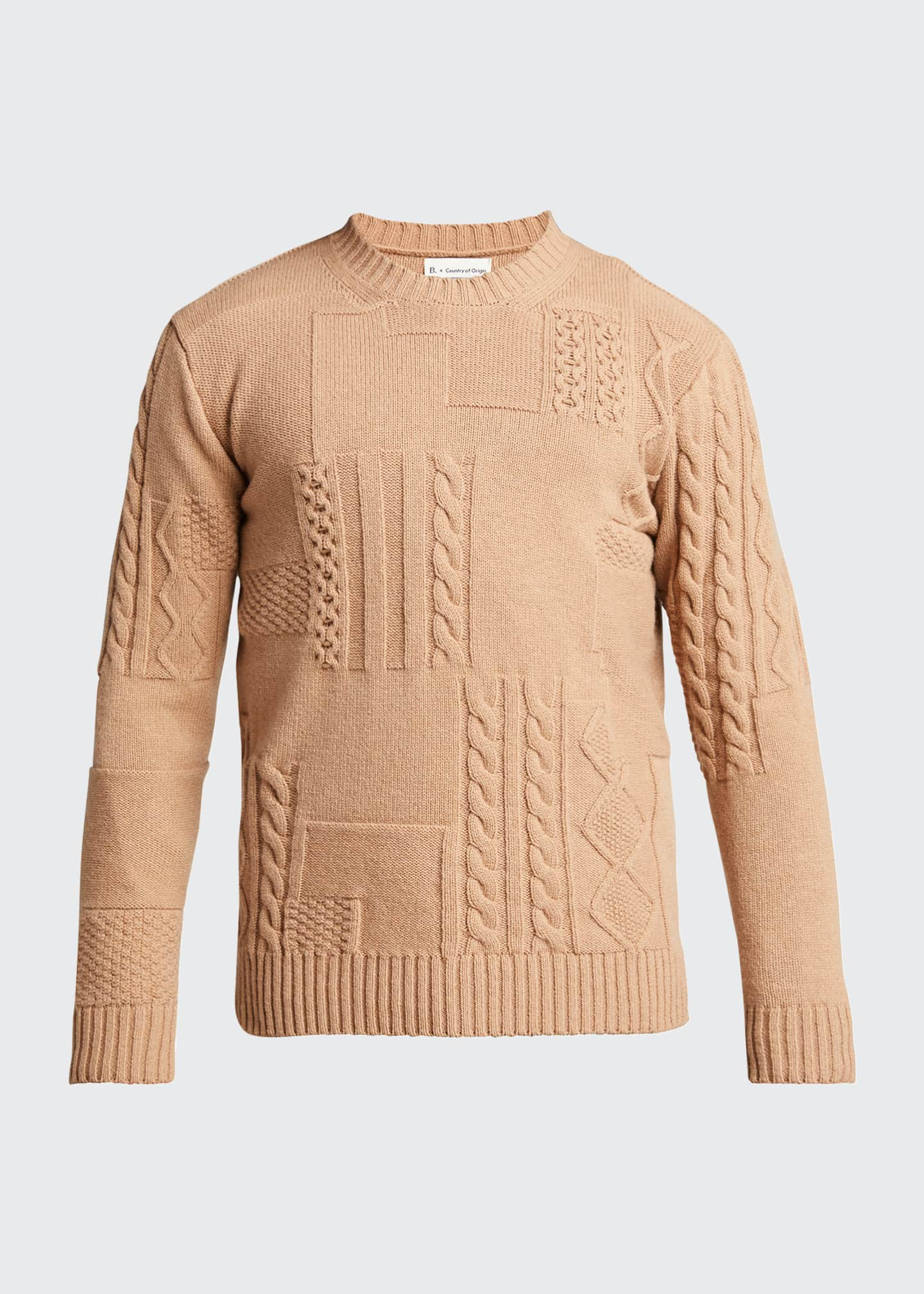Image 5 of 5: Men's Cable-Knit Patchwork Crewneck Sweater