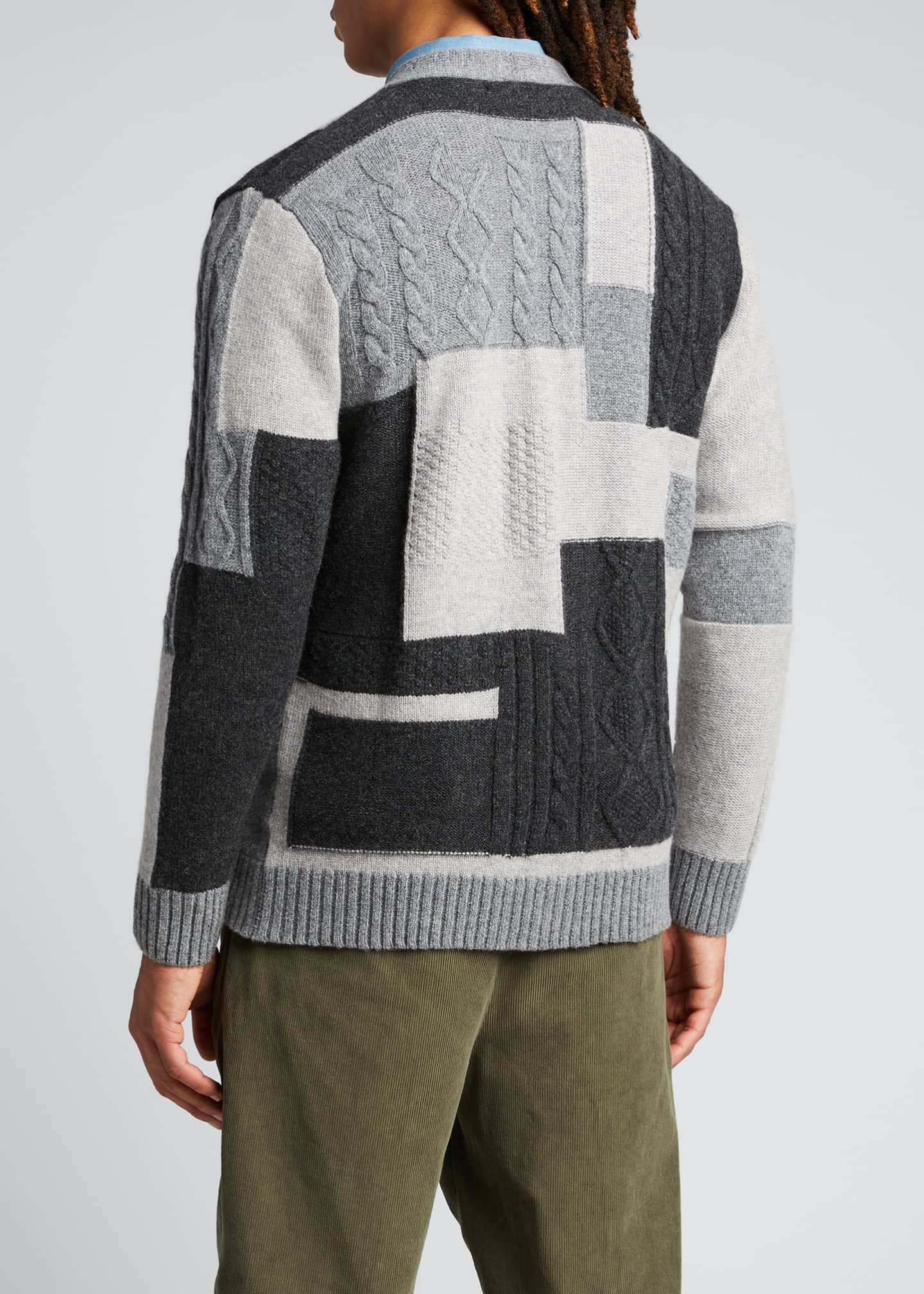 Image 2 of 5: Men's Patchwork Button-Front Cardigan