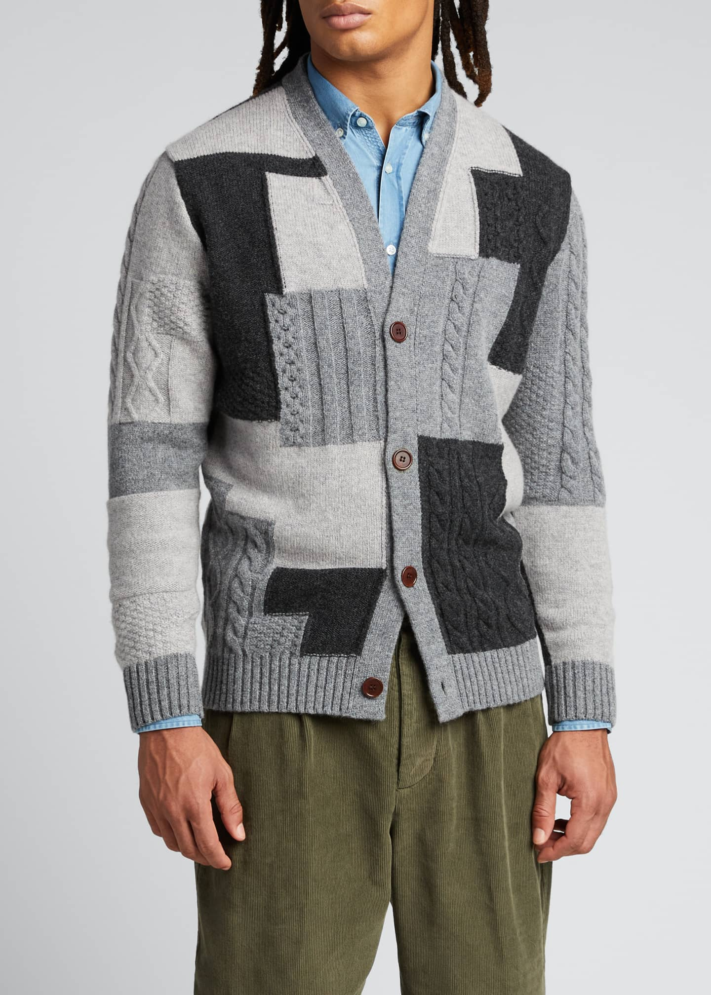 Image 3 of 5: Men's Patchwork Button-Front Cardigan