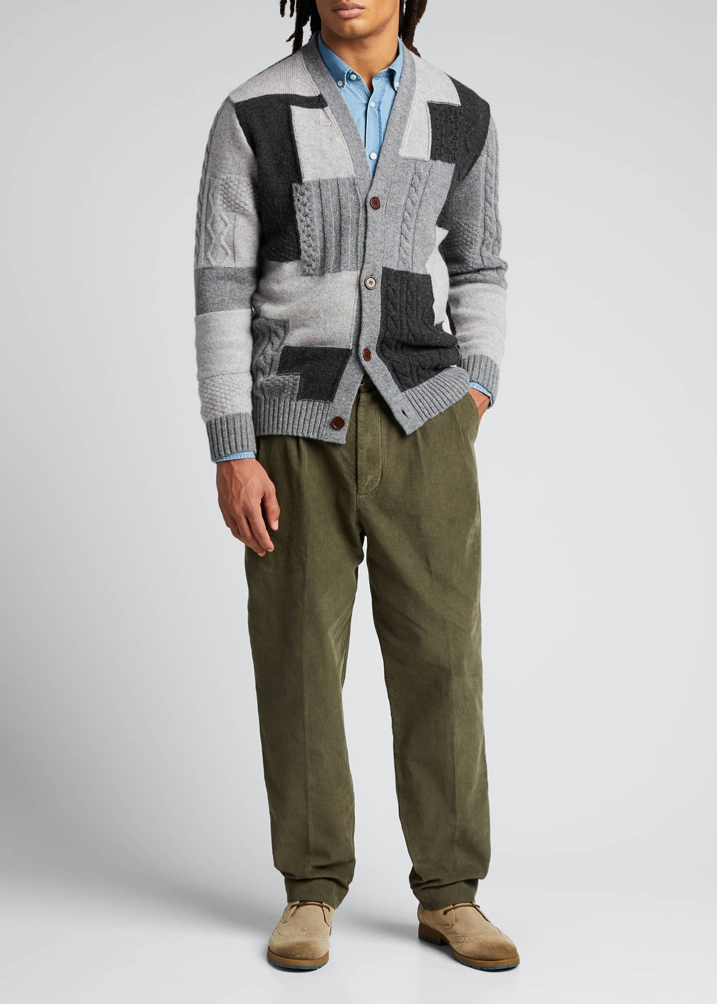 Image 1 of 5: Men's Patchwork Button-Front Cardigan