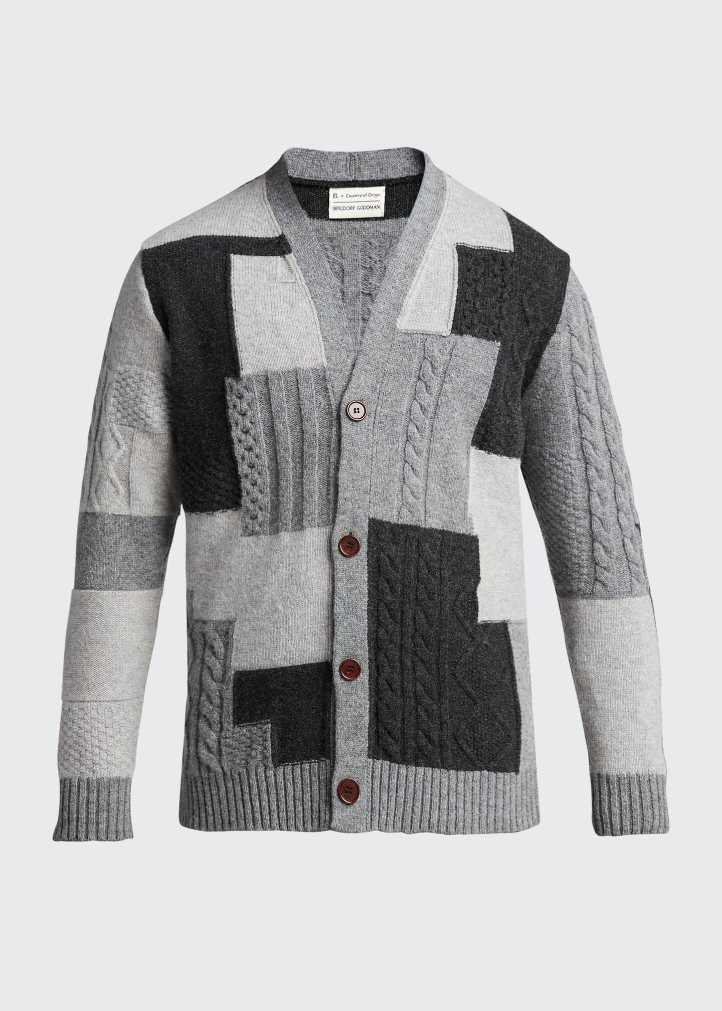 Image 5 of 5: Men's Patchwork Button-Front Cardigan