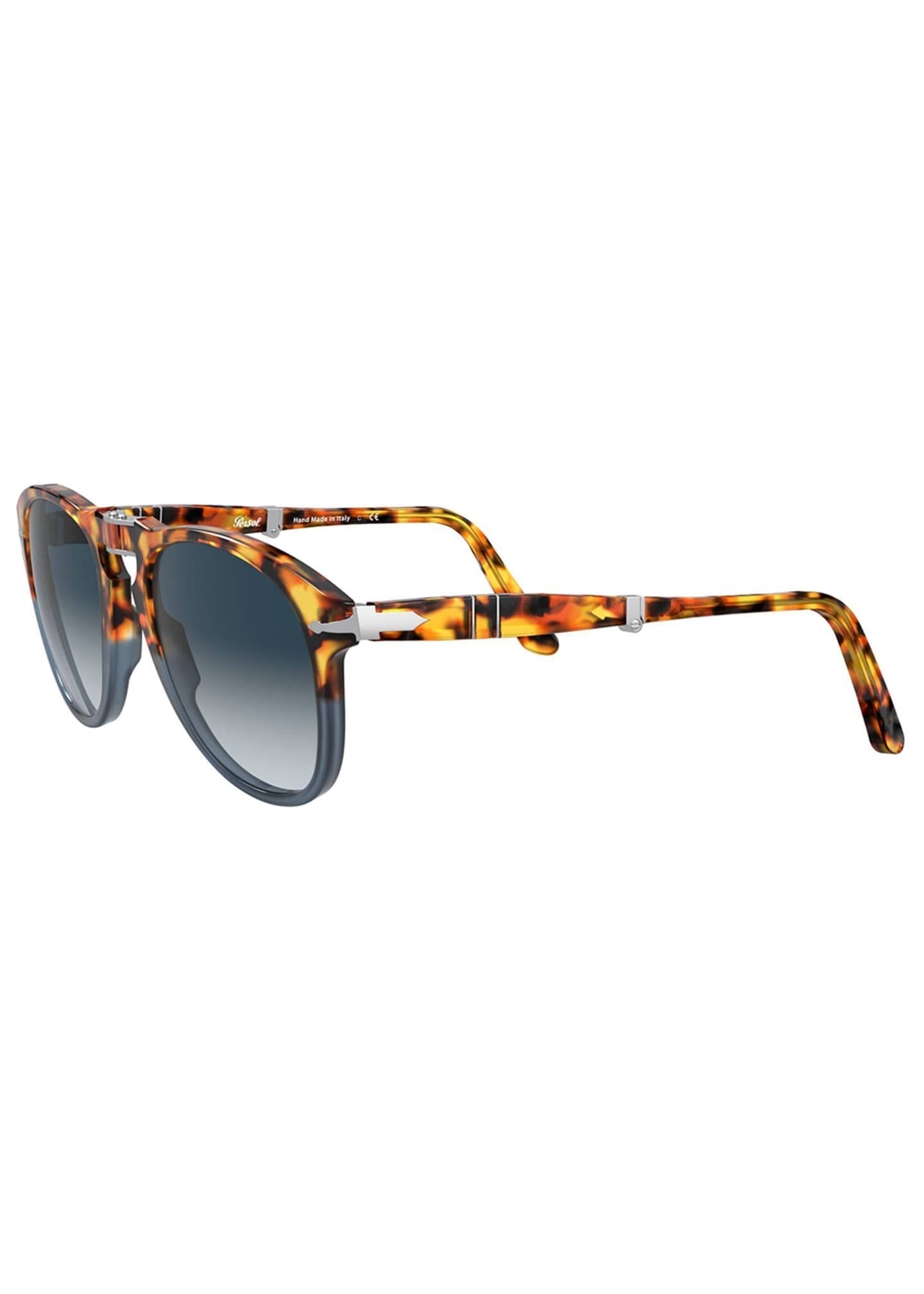 Image 4 of 4: Men's Gradient Tortoiseshell Acetate Folding Sunglasses