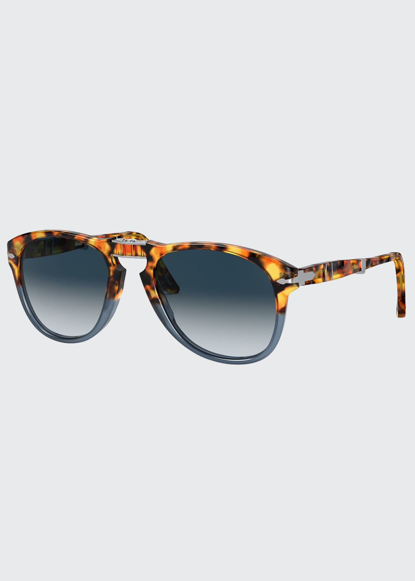 Image 1 of 4: Men's Gradient Tortoiseshell Acetate Folding Sunglasses