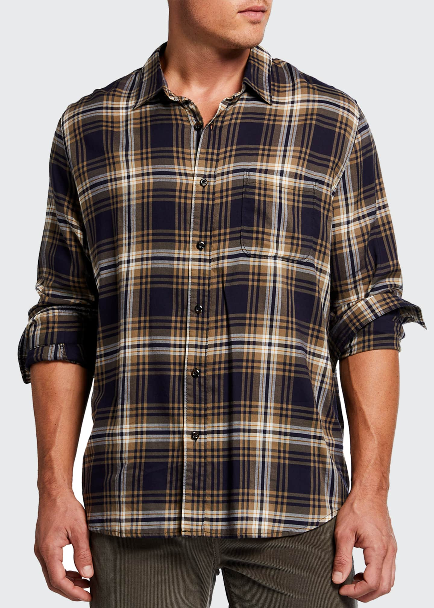 Image 1 of 2: Men's Plaid Single-Pocket Sport Shirt