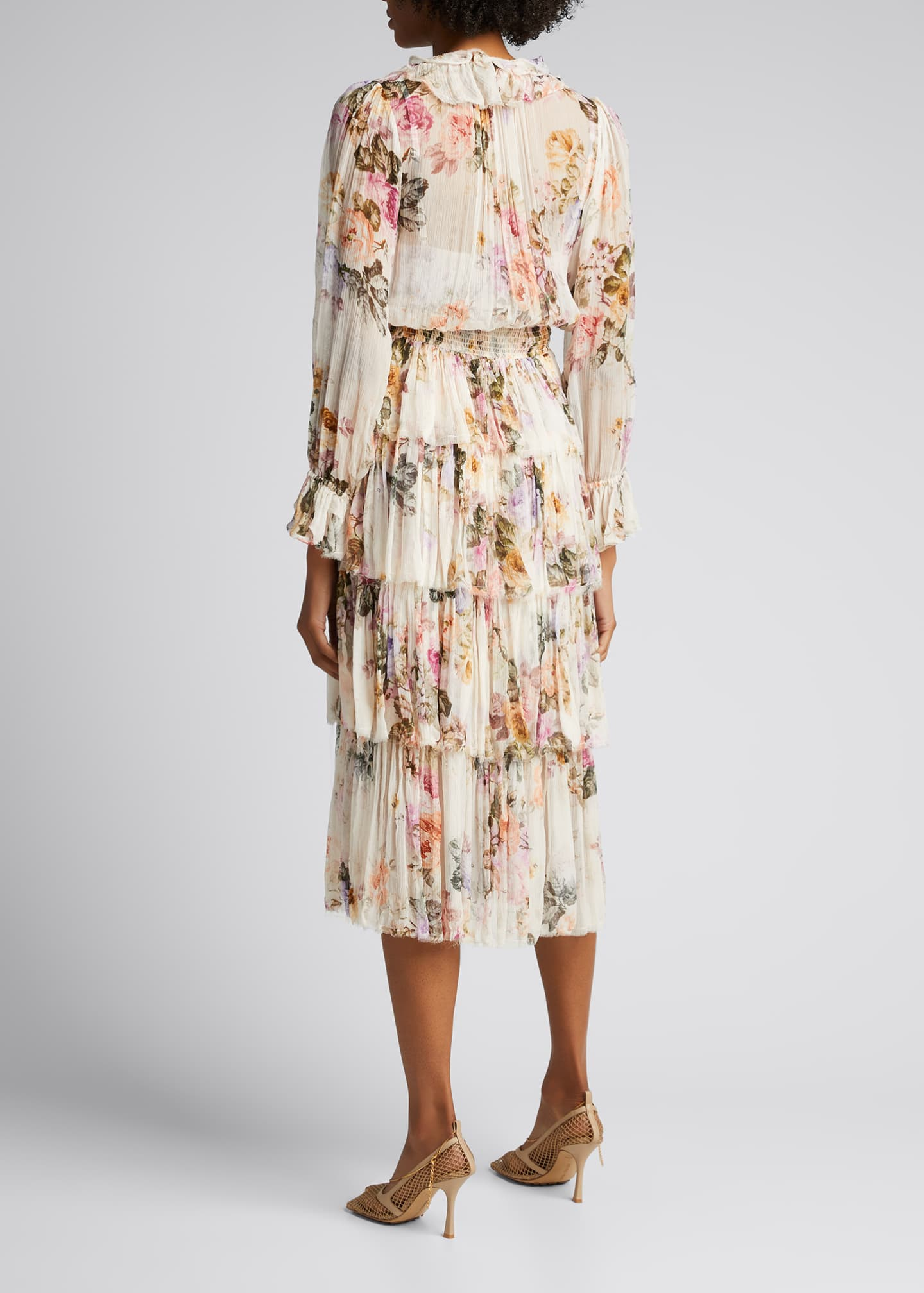 Image 2 of 5: Brighton Tiered Frill Floral Midi Dress