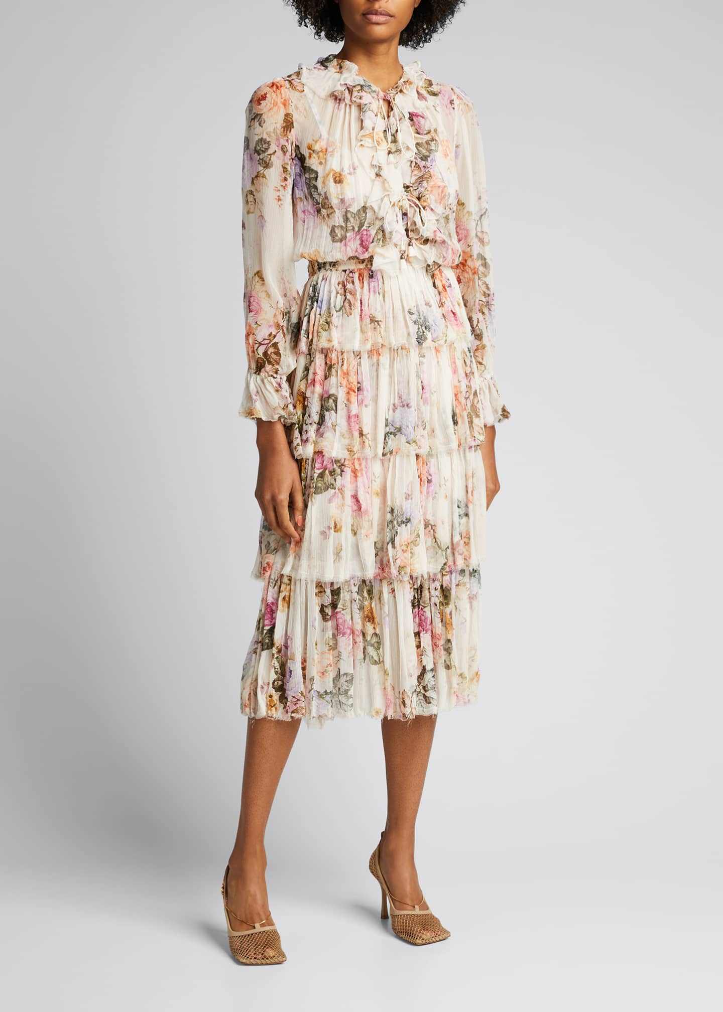 Image 3 of 5: Brighton Tiered Frill Floral Midi Dress
