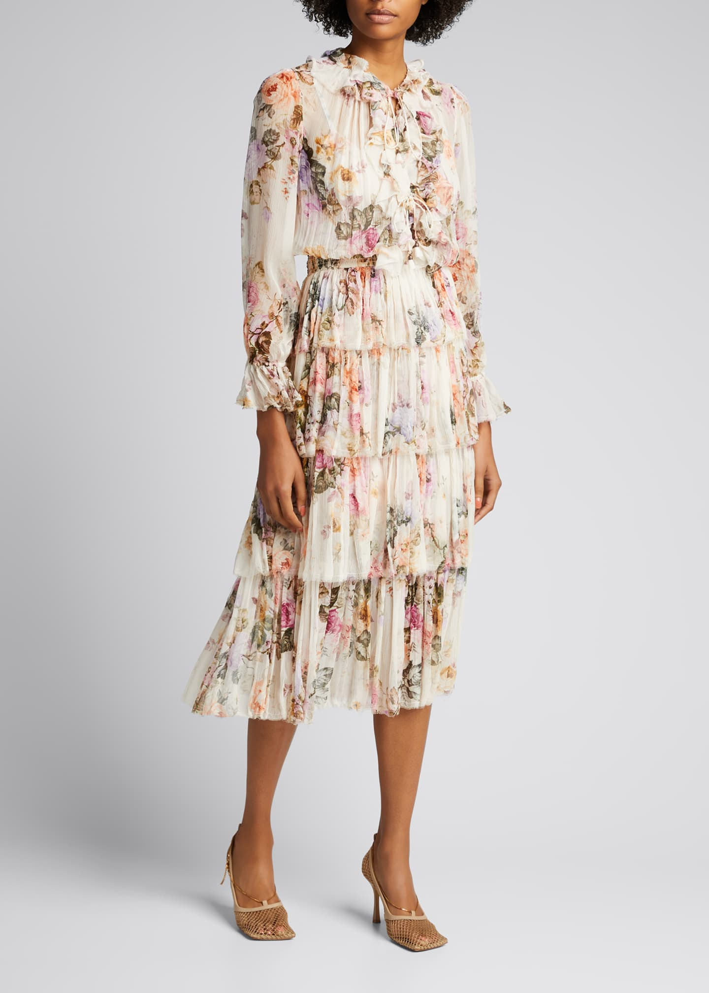 Image 1 of 5: Brighton Tiered Frill Floral Midi Dress