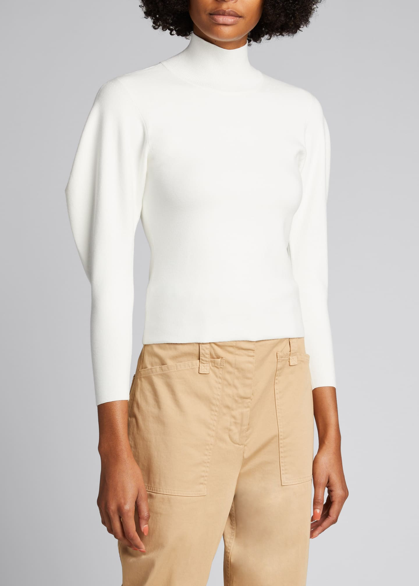 Image 3 of 4: Samuel Mock-Neck Structured-Sleeve Sweater