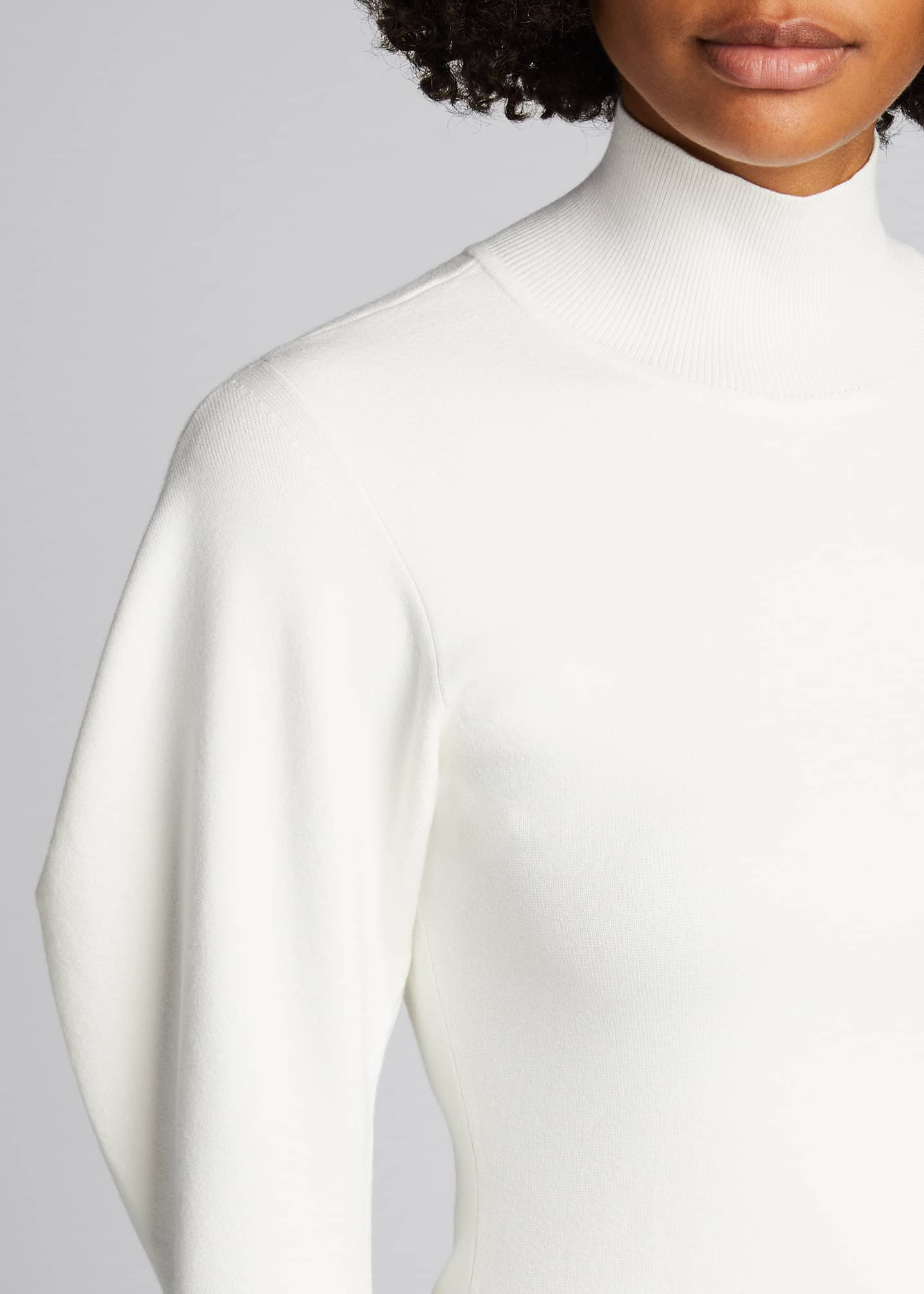 Image 4 of 4: Samuel Mock-Neck Structured-Sleeve Sweater