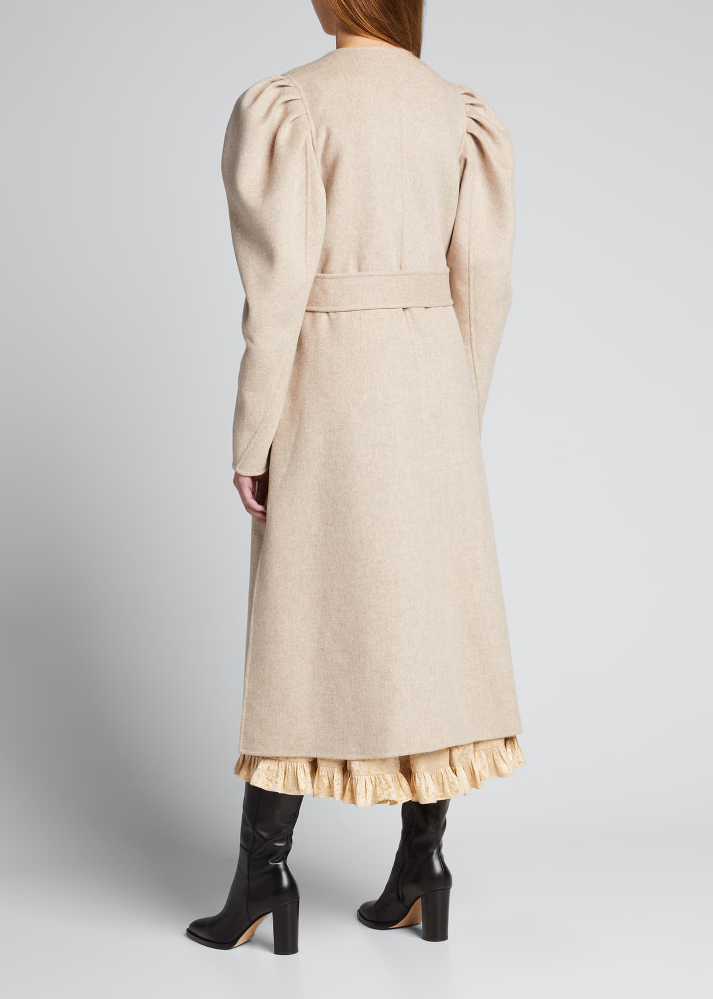 Image 2 of 5: Wren Belted Wool Puff-Sleeve Coat