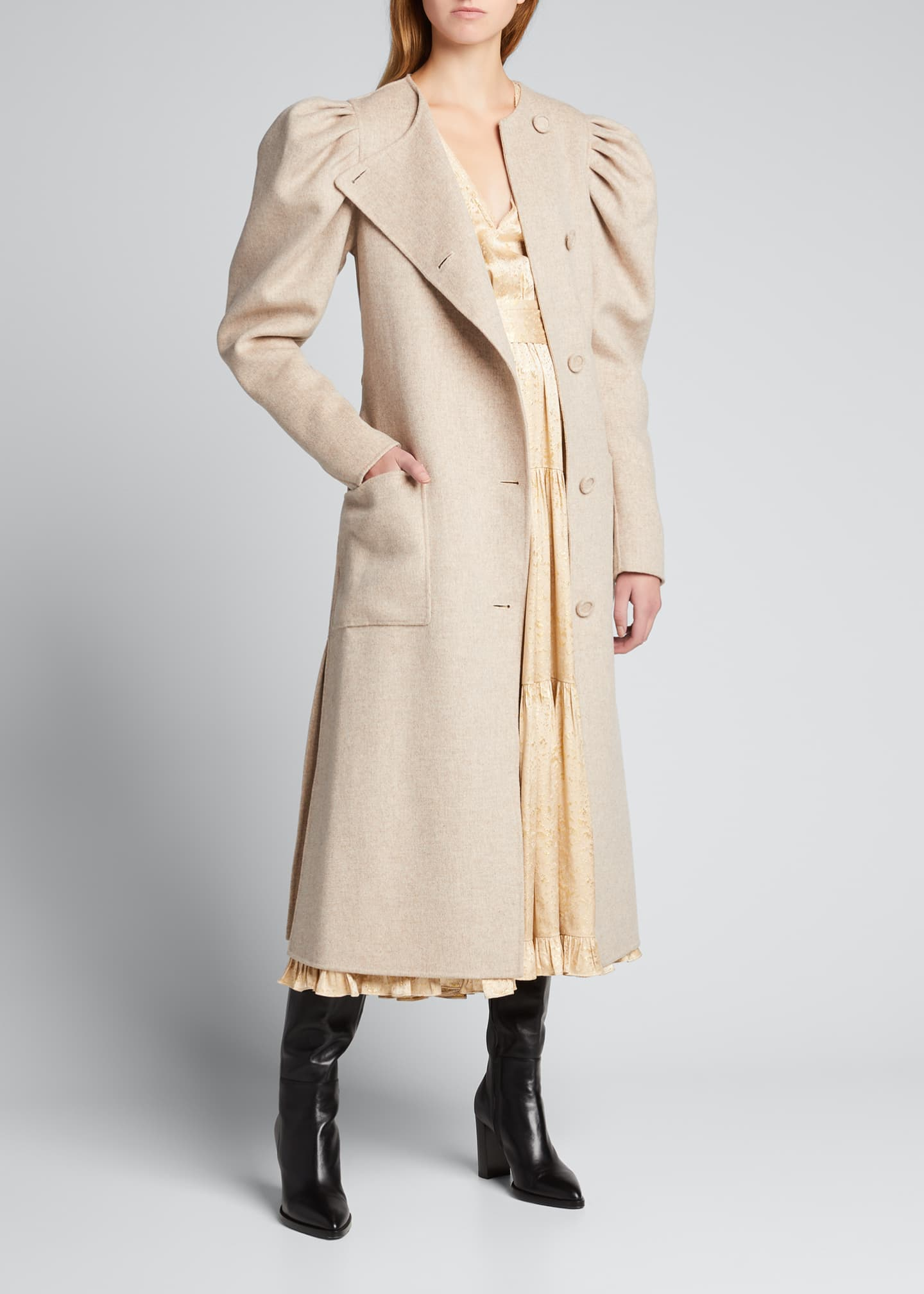 Image 3 of 5: Wren Belted Wool Puff-Sleeve Coat