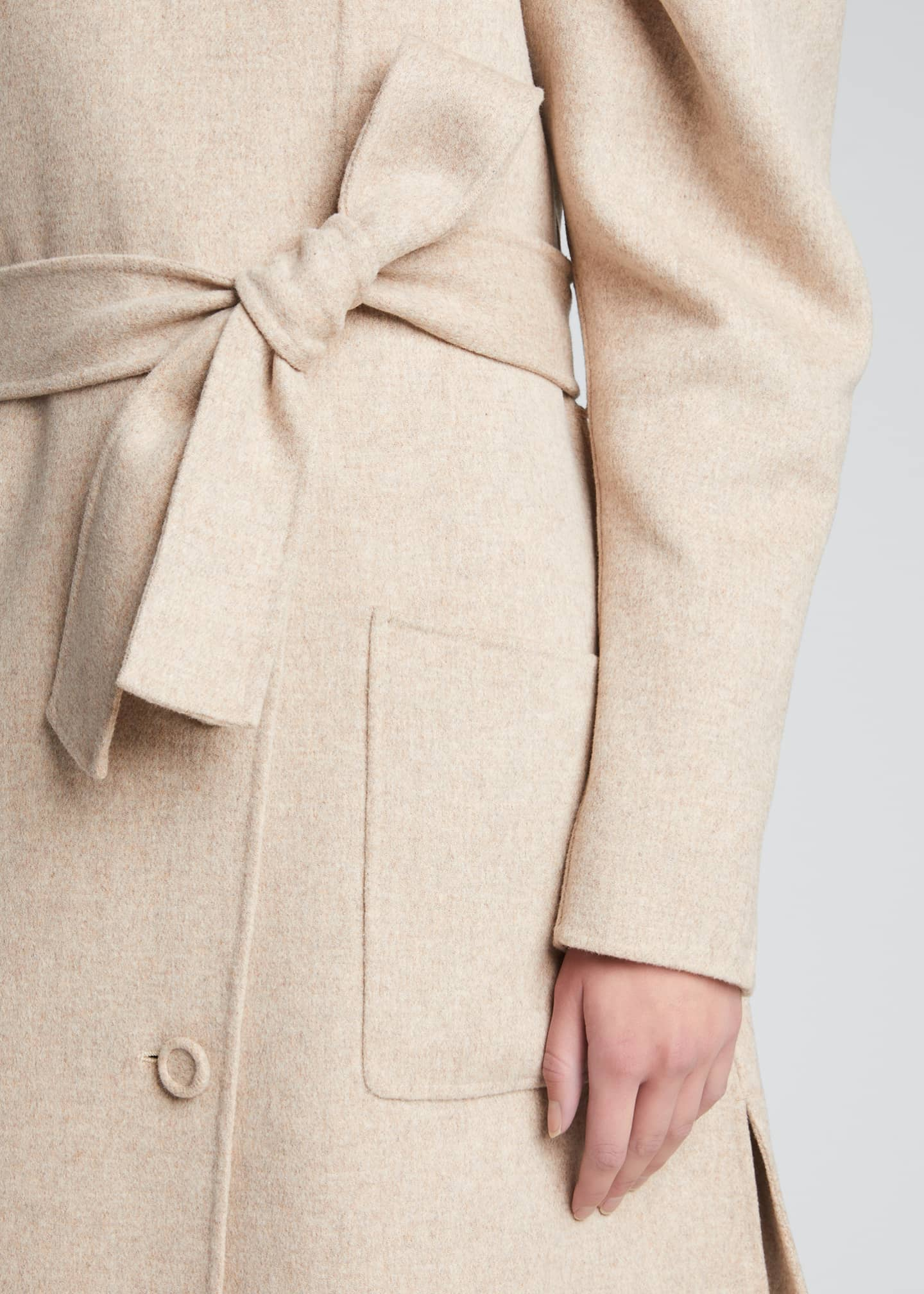 Image 4 of 5: Wren Belted Wool Puff-Sleeve Coat