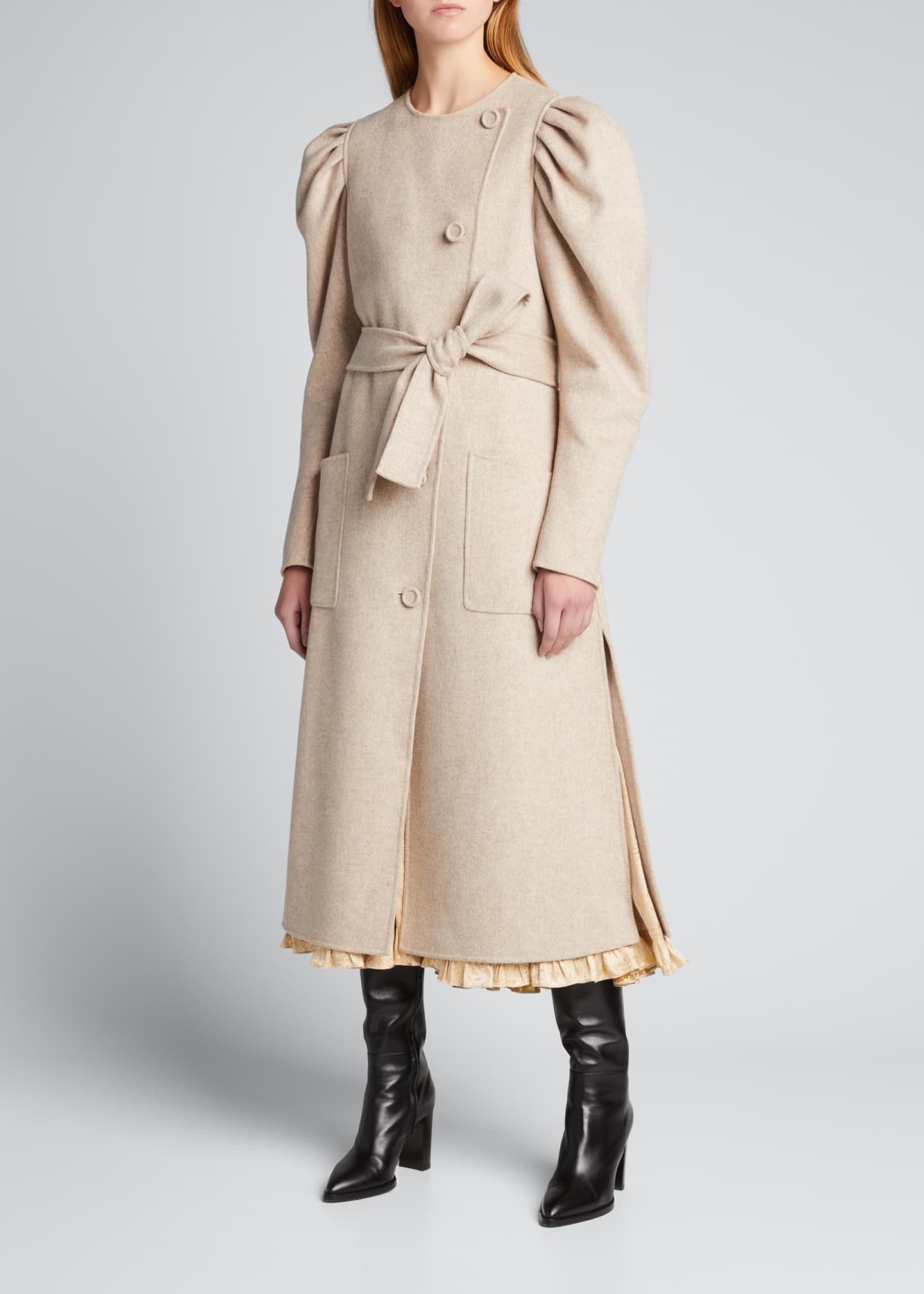 Image 1 of 5: Wren Belted Wool Puff-Sleeve Coat