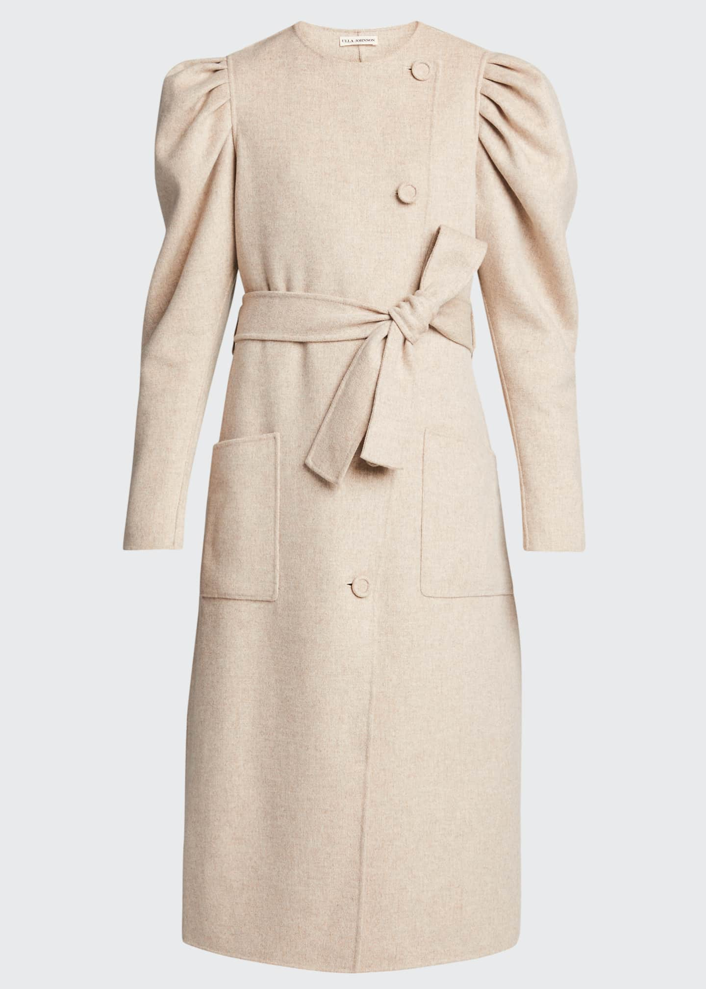 Image 5 of 5: Wren Belted Wool Puff-Sleeve Coat