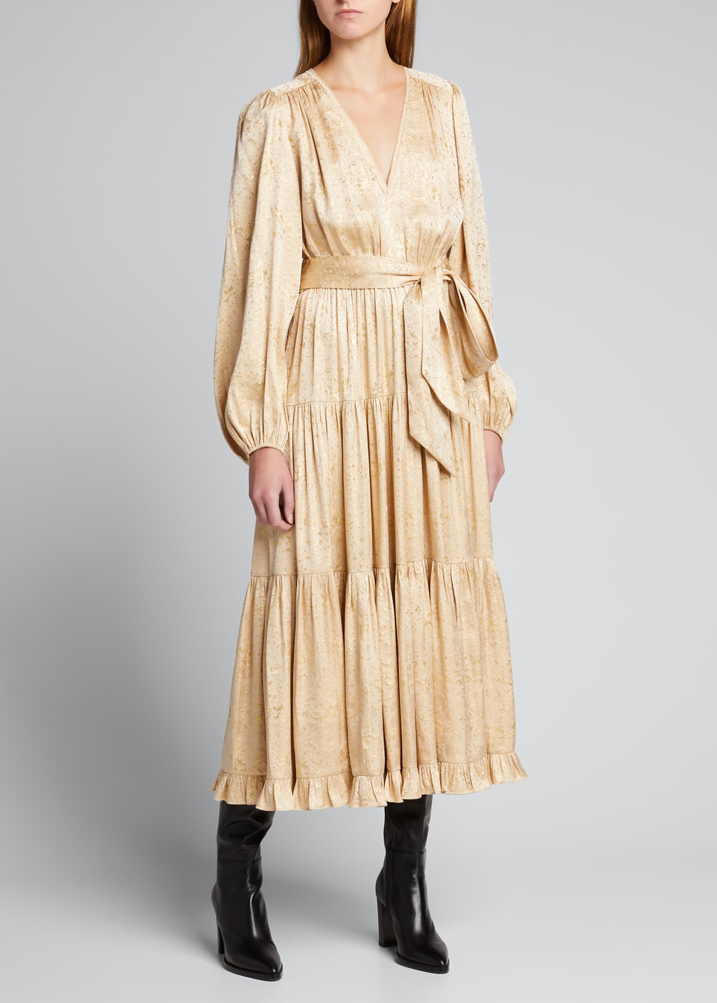 Image 3 of 5: Helena Metallic Jacquard Tiered Dress
