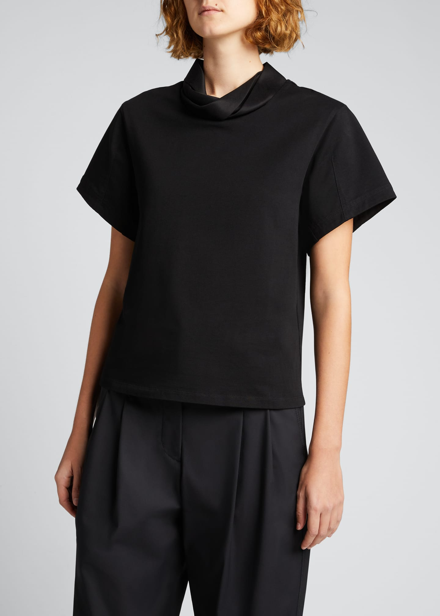 Image 3 of 5: Short-Sleeve Folded-Collar T-Shirt