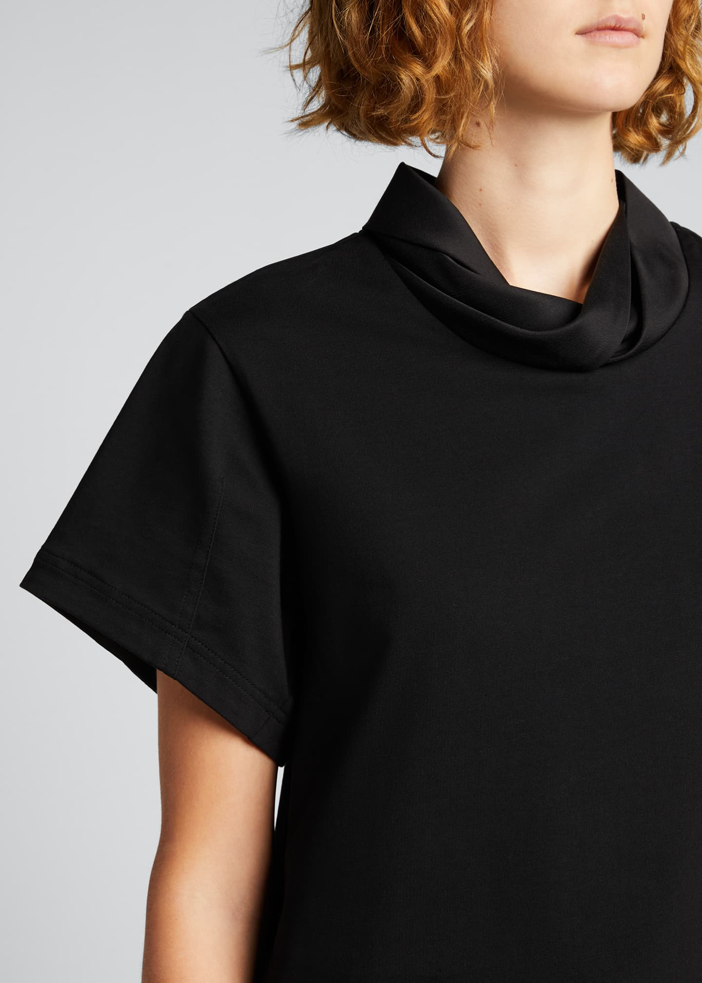 Image 4 of 5: Short-Sleeve Folded-Collar T-Shirt