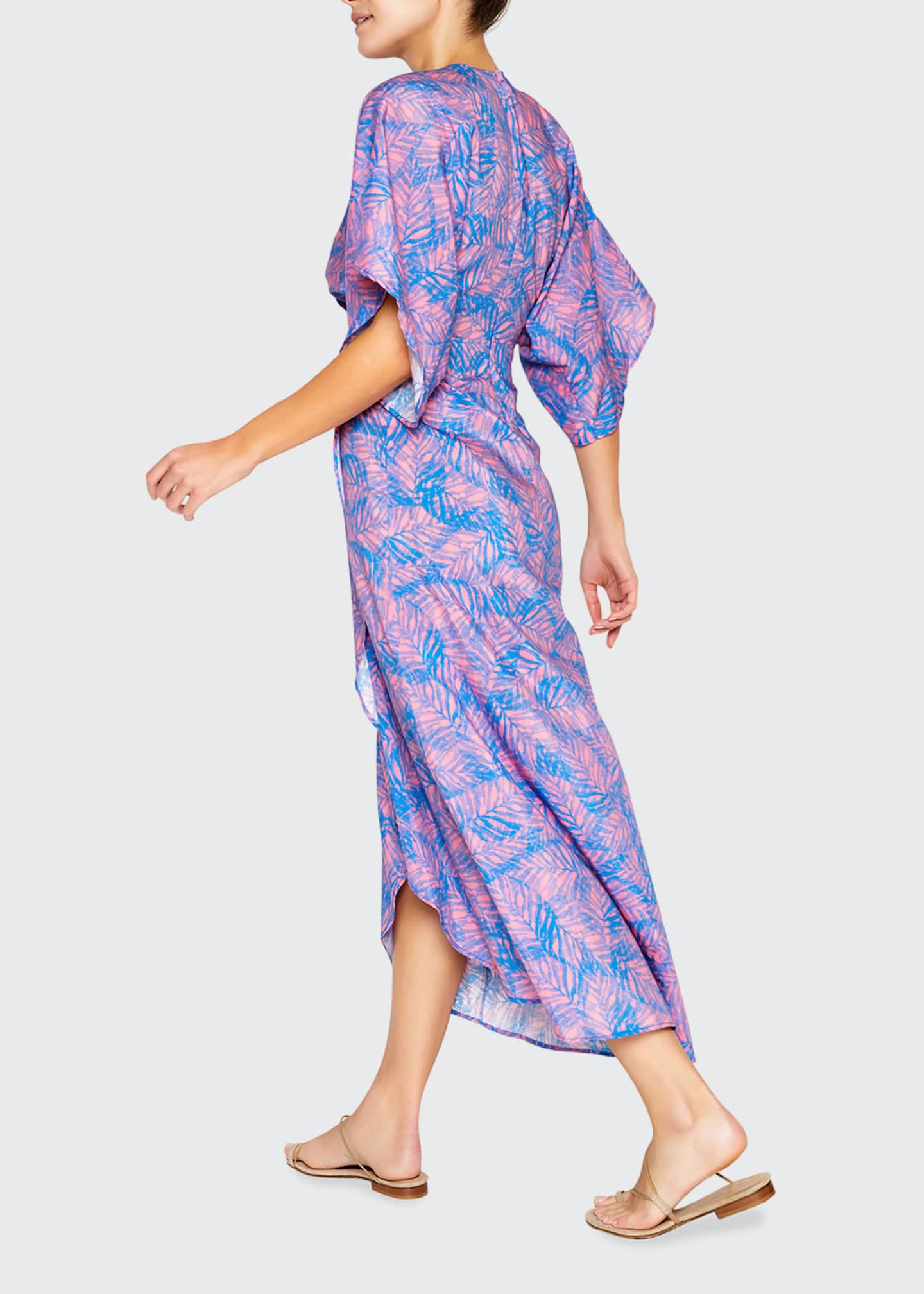 Image 2 of 2: Katherine Foliage-Print Cotton-Silk Midi Dress