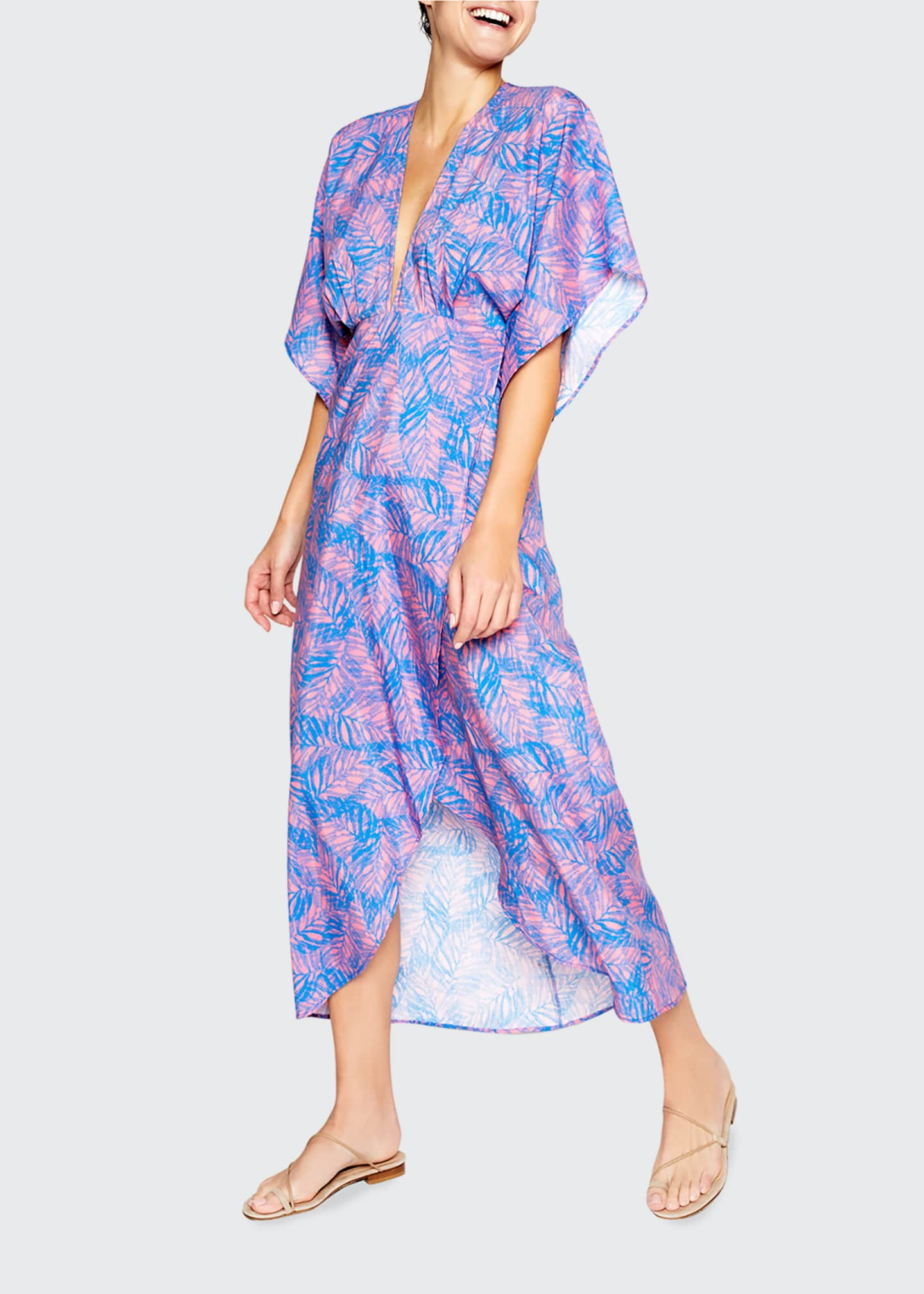 Image 1 of 2: Katherine Foliage-Print Cotton-Silk Midi Dress