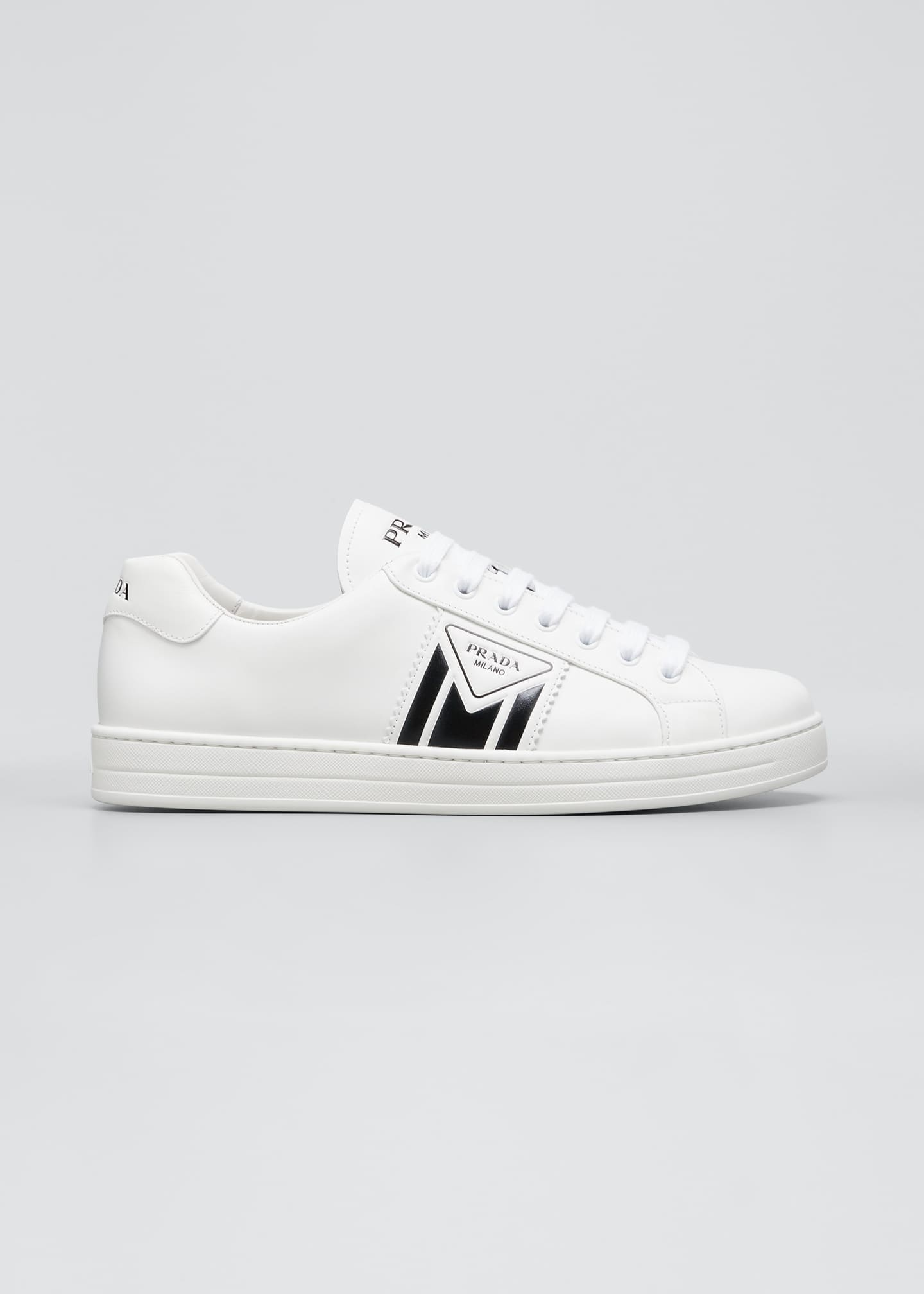 Image 1 of 3: Men's Two-Tone Logo Leather Sneakers