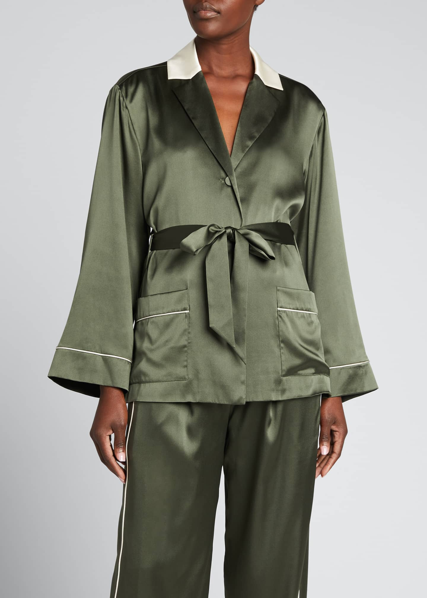 Image 3 of 5: Selina Charmeuse Short Robe Jacket