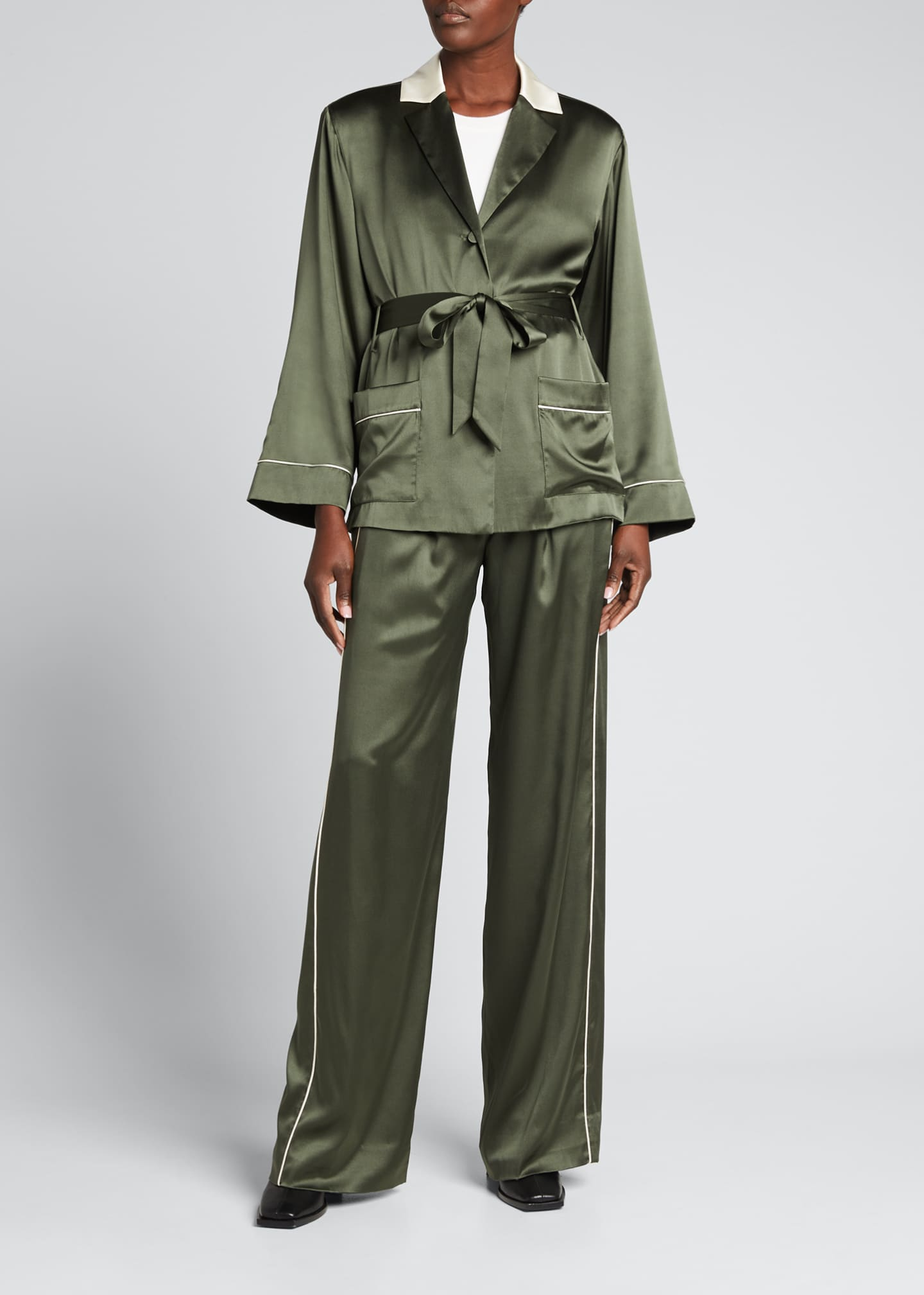 Image 1 of 5: Selina Charmeuse Short Robe Jacket