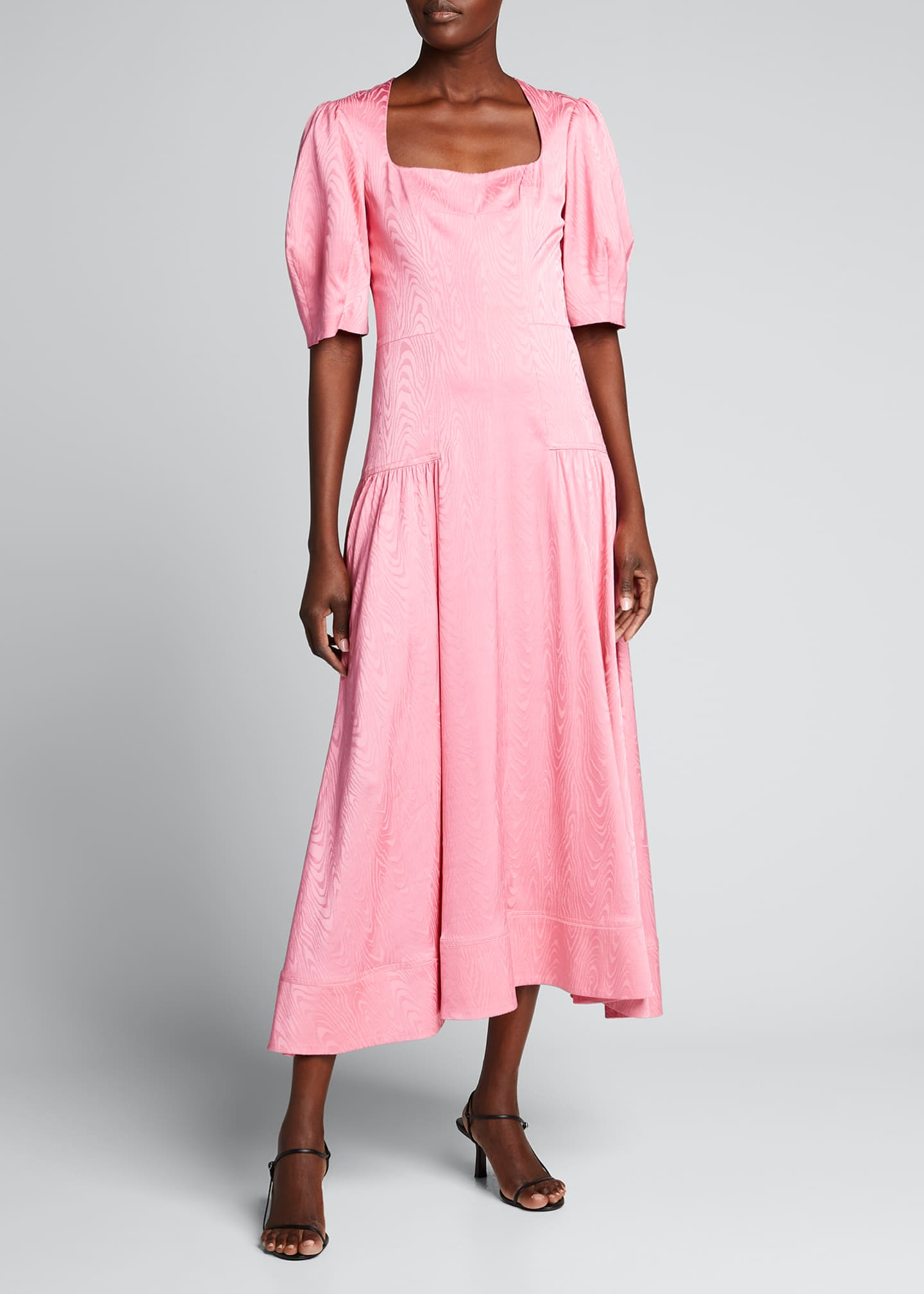 Rumi Moire Jacquard Square-Neck Dress