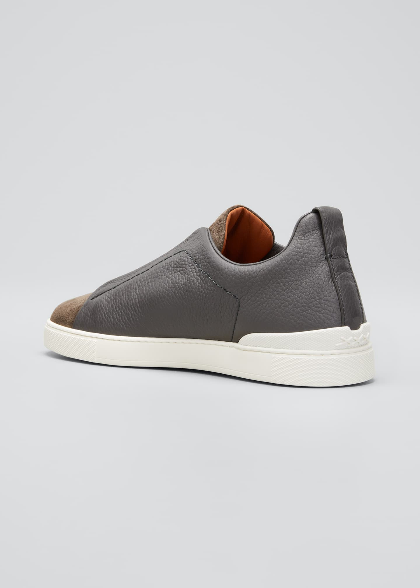 Image 2 of 3: Men's Triple-Stitch Mix-Leather Slip-On Sneakers
