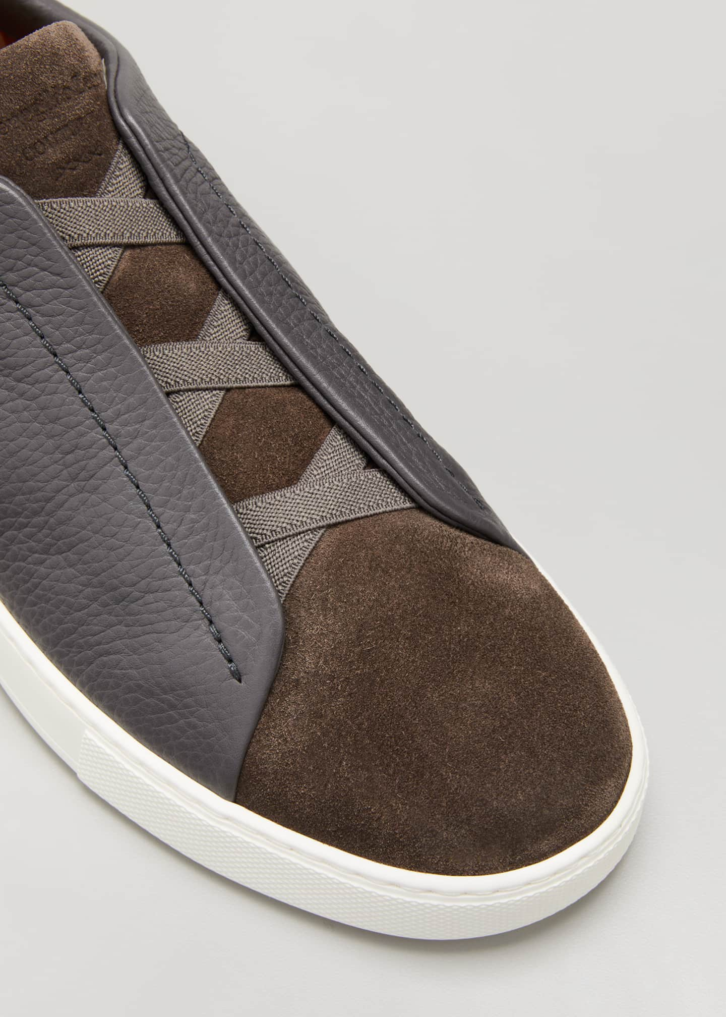 Image 3 of 3: Men's Triple-Stitch Mix-Leather Slip-On Sneakers