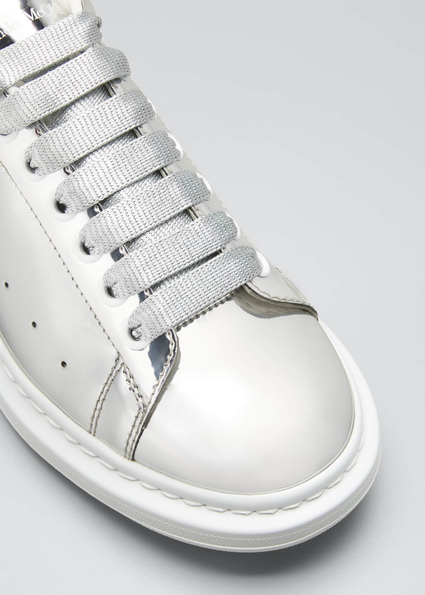 Image 3 of 3: Men's Metallic Leather Chunky Sneakers