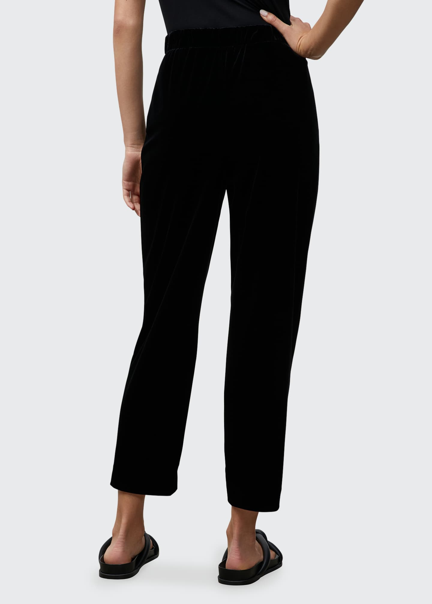 Image 2 of 2: Cropped Velvet Jersey Pull-On Pants