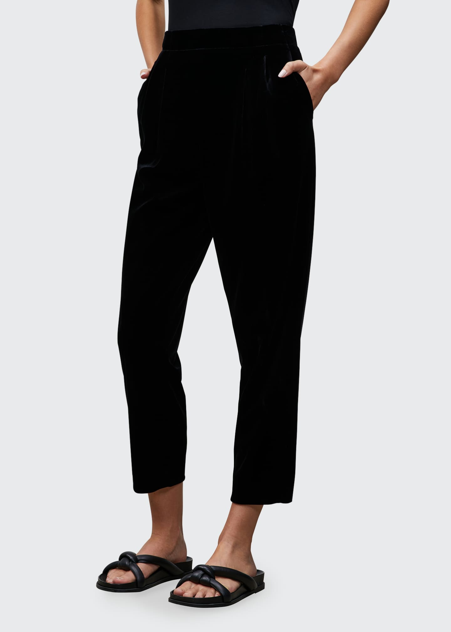 Image 1 of 2: Cropped Velvet Jersey Pull-On Pants