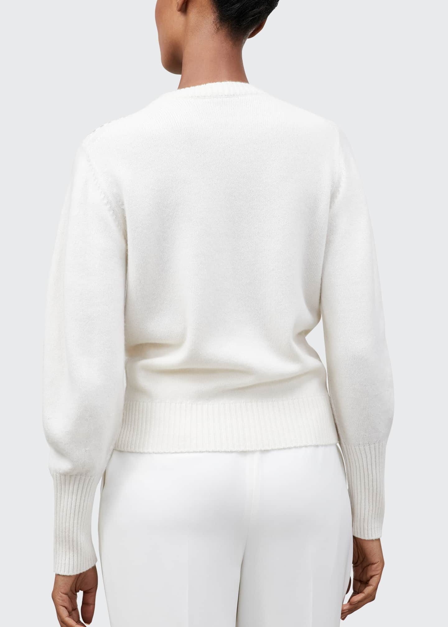 Image 2 of 2: Chevron Beaded Cashmere Crewneck Sweater