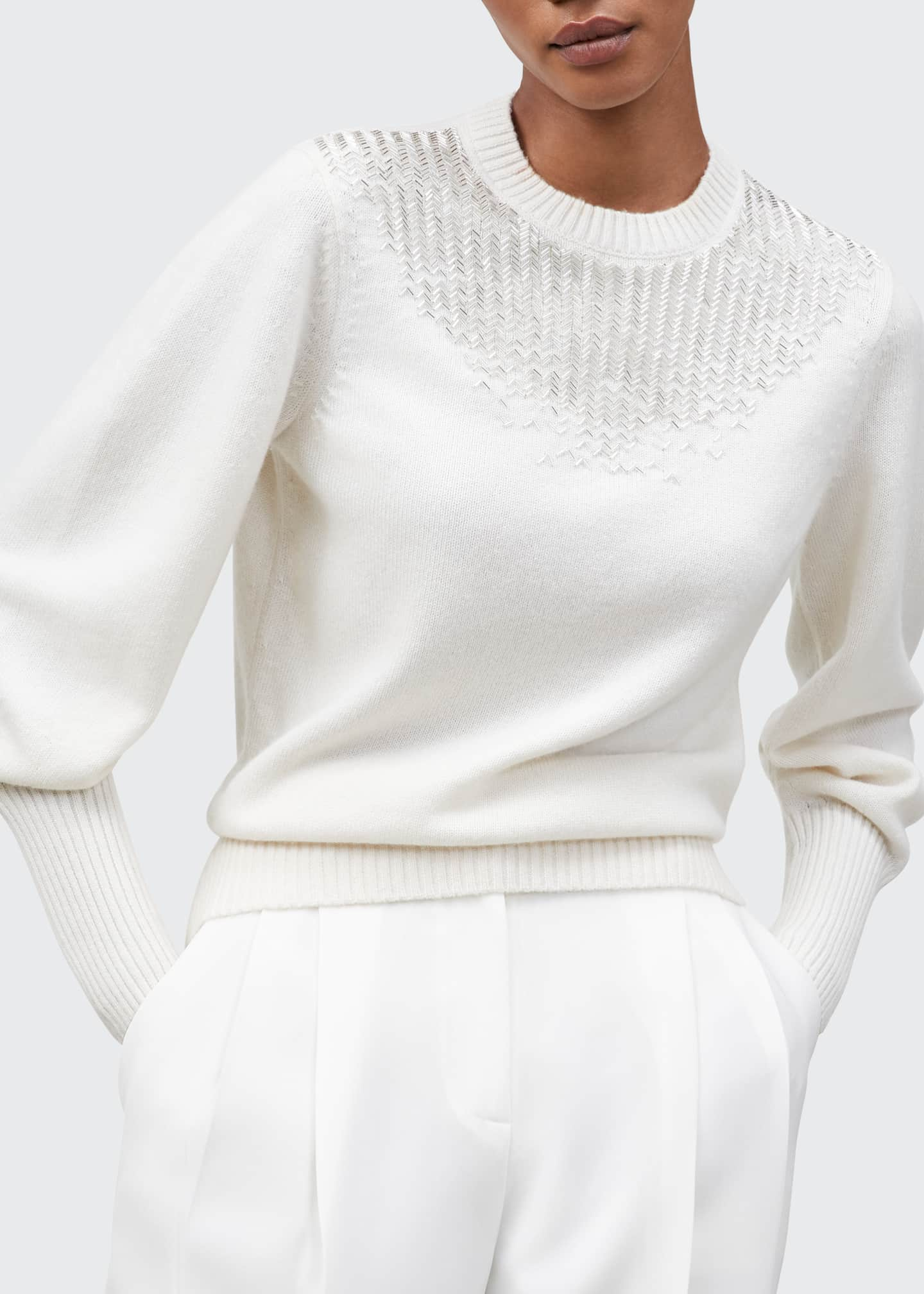 Image 1 of 2: Chevron Beaded Cashmere Crewneck Sweater