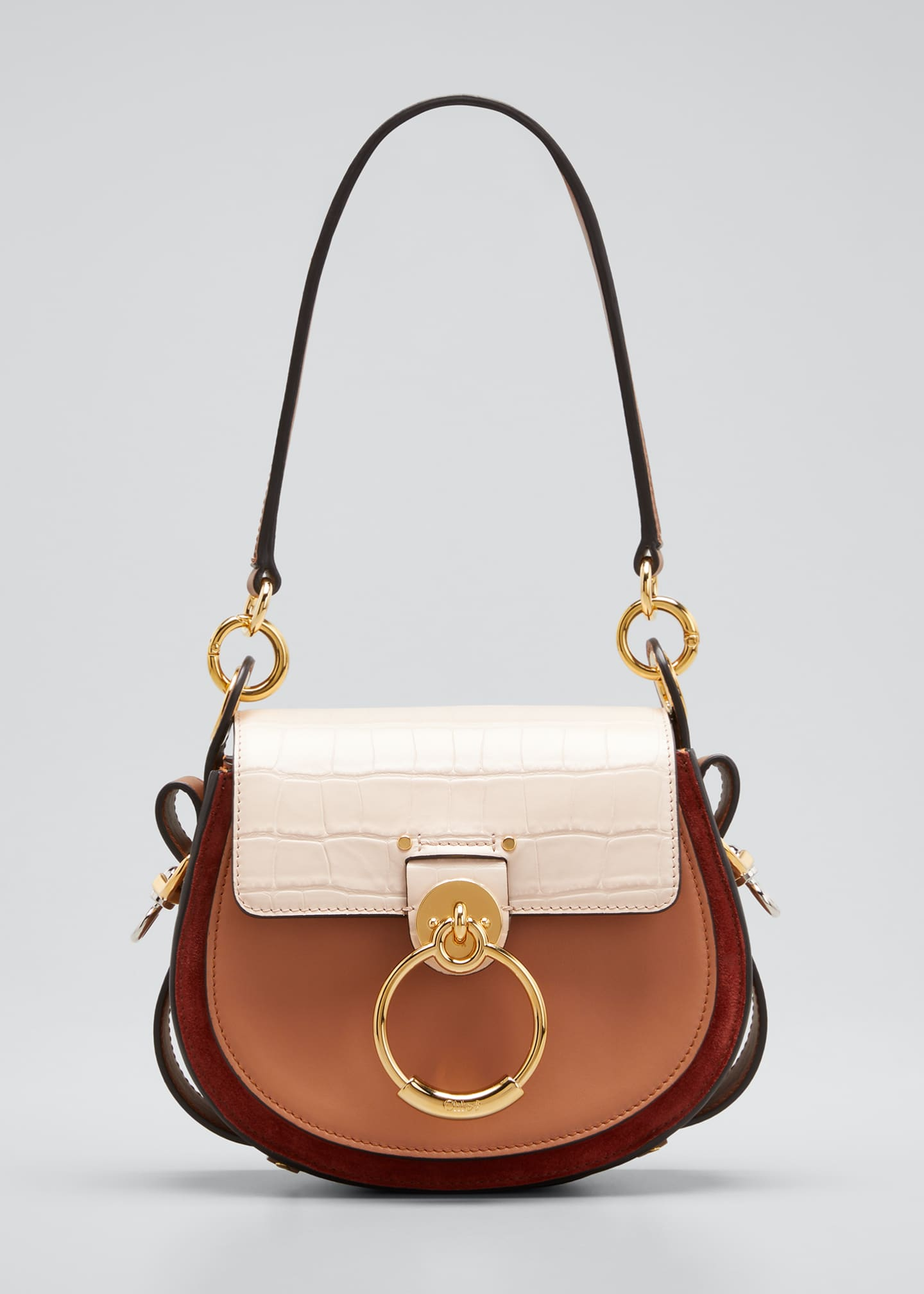 Tess Small Tricolor Mixed Leather Shoulder Bag