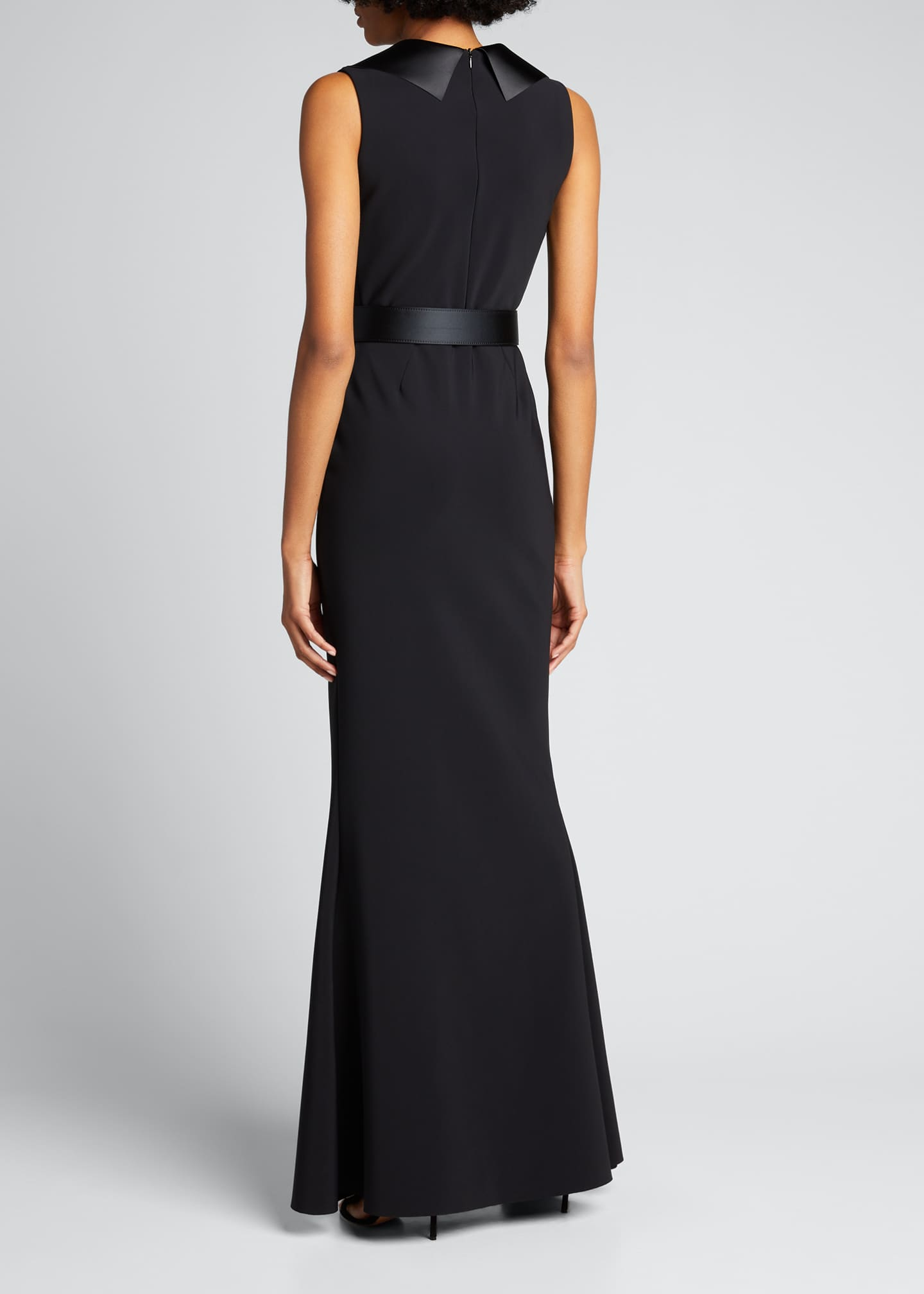 Image 2 of 4: Sleeveless Tuxedo Gown with Crystal Belt