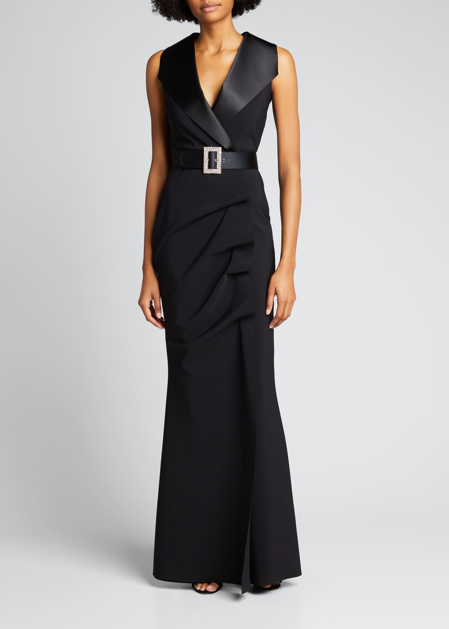 Image 3 of 4: Sleeveless Tuxedo Gown with Crystal Belt