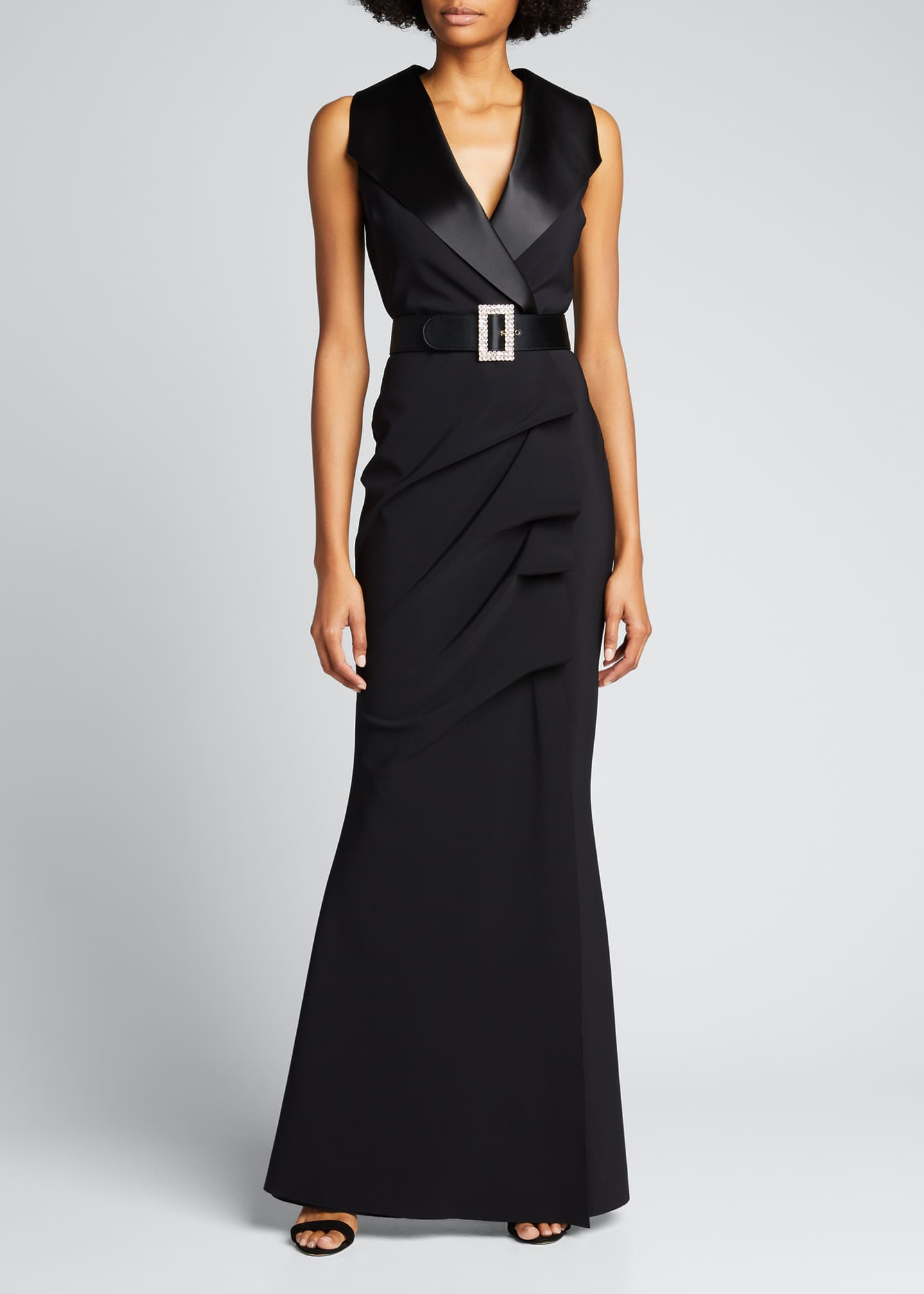 Image 1 of 4: Sleeveless Tuxedo Gown with Crystal Belt