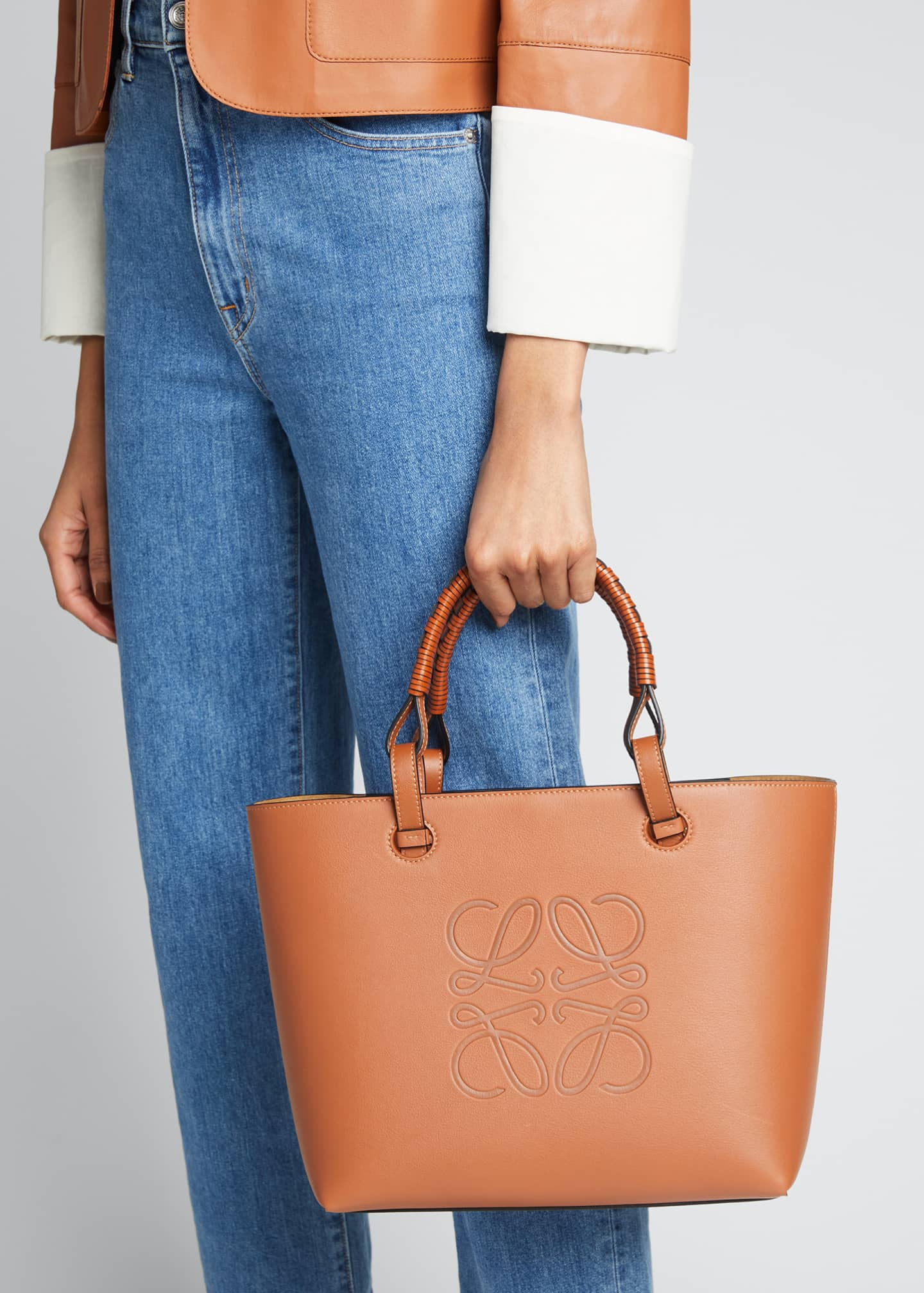 Image 2 of 3: Anagram Small Classic Leather Tote Bag
