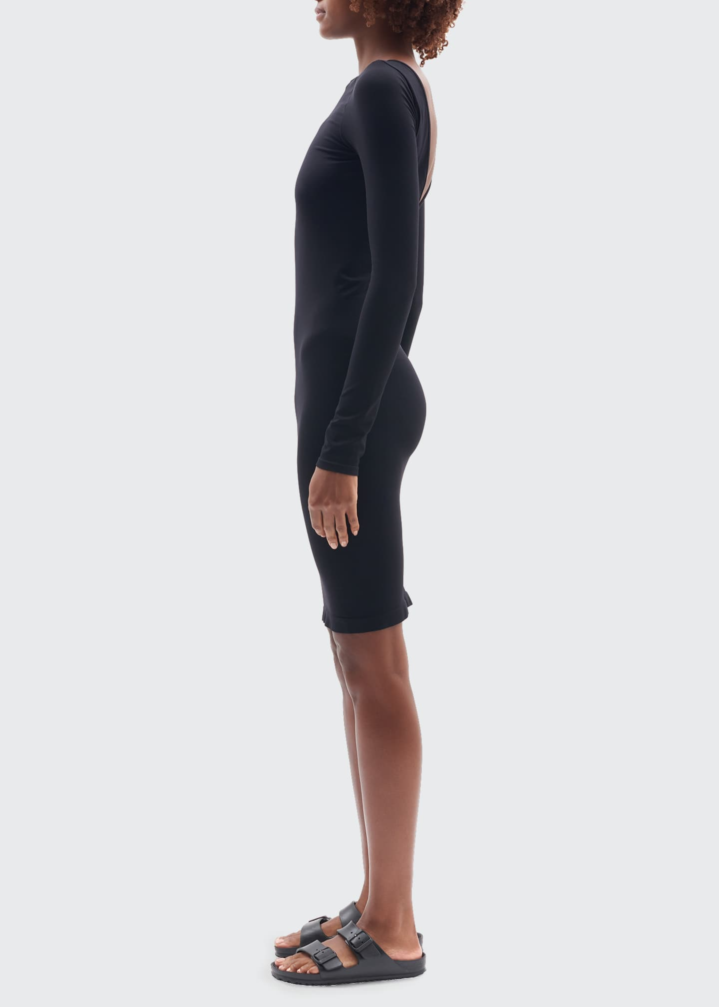 Image 3 of 4: Open-V-Back Long-Sleeve Body-Con Dress