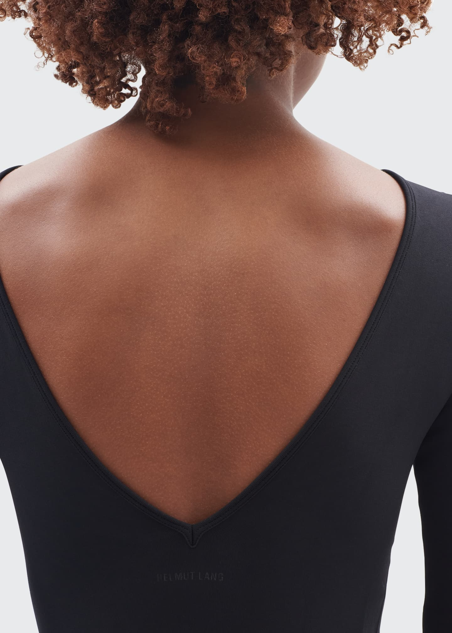 Image 4 of 4: Open-V-Back Long-Sleeve Body-Con Dress