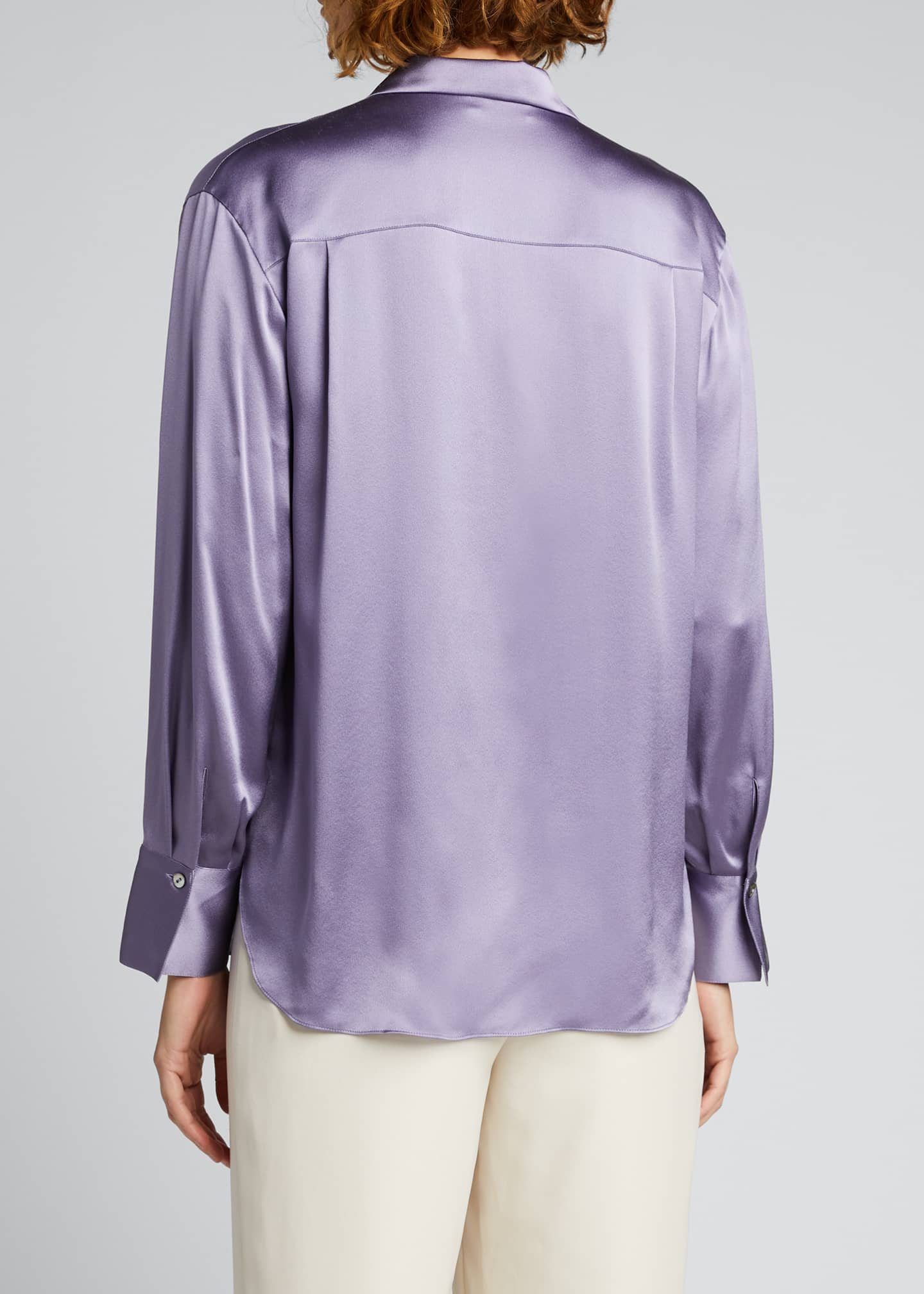 Image 2 of 5: Collared Silk Button-Down Blouse